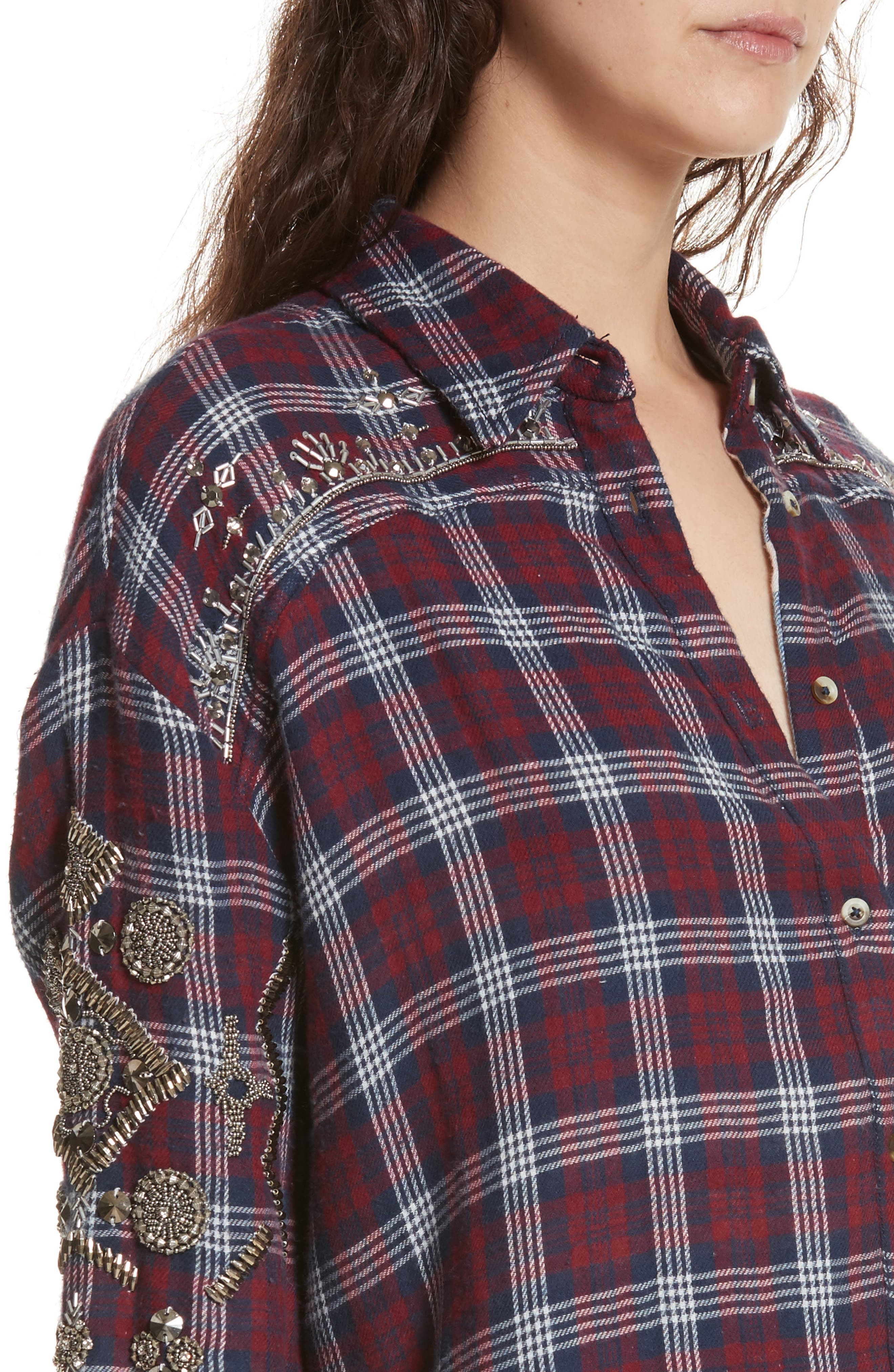 Downtown Romance Embellished Shirt,                             Alternate thumbnail 4, color,                             Red