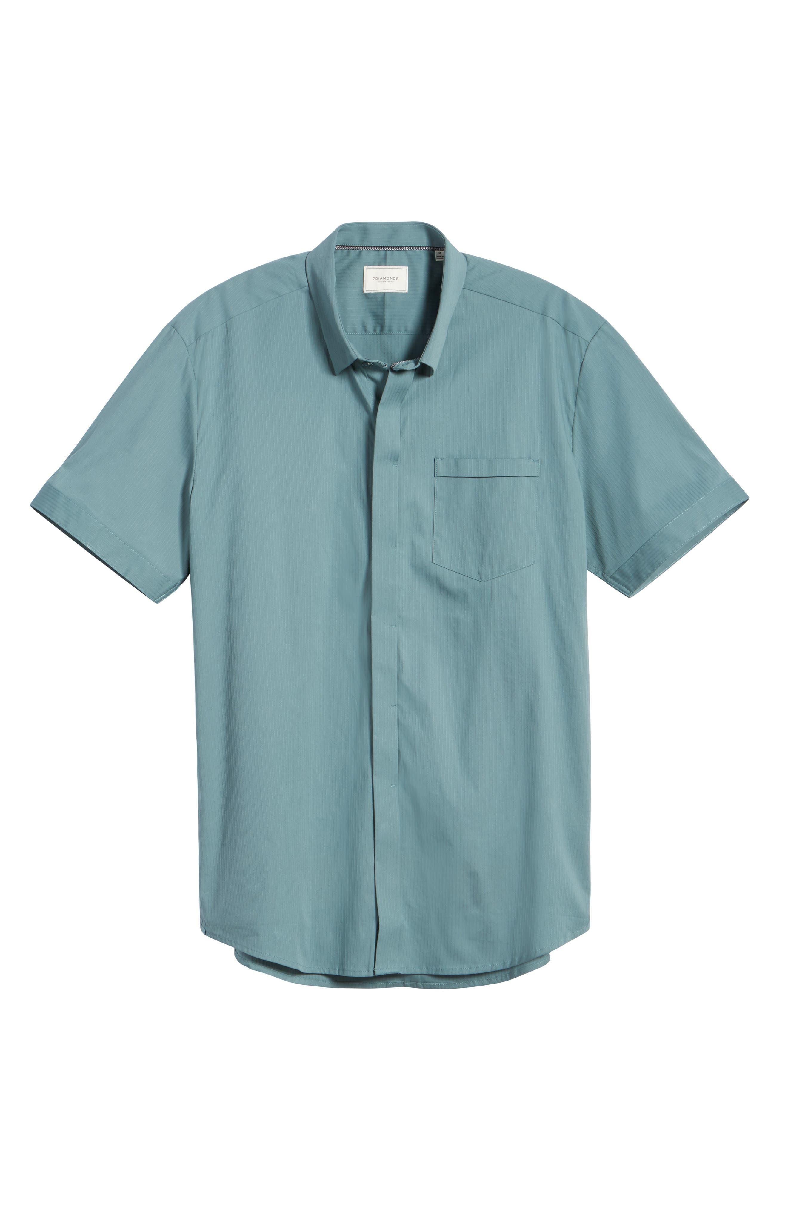 City Savior Woven Shirt,                             Alternate thumbnail 6, color,                             Stormy Sea