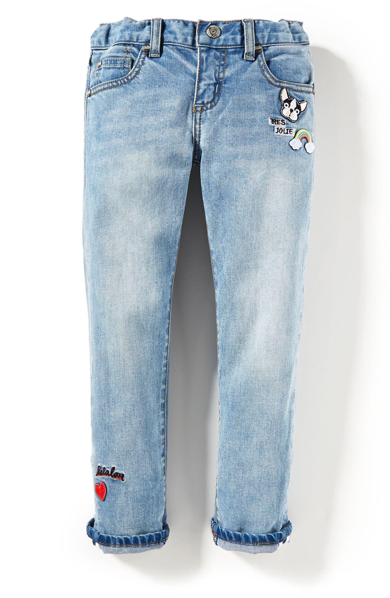 Main Image - Peek Greta Patch Skinny Jeans (Toddler Girls, Little Girls & Big Girls)
