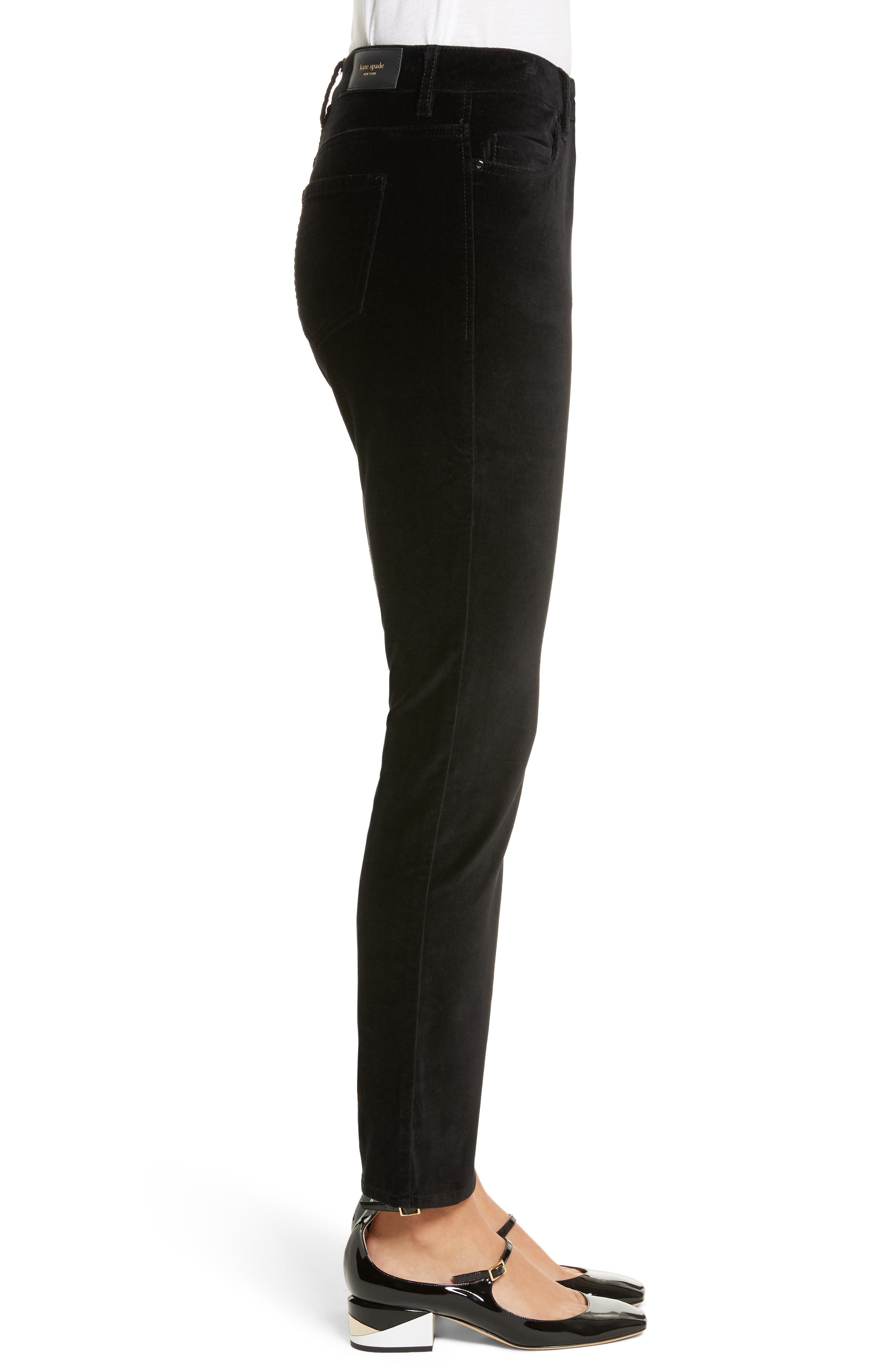 stretch velveteen ankle pants,                             Alternate thumbnail 3, color,                             Black