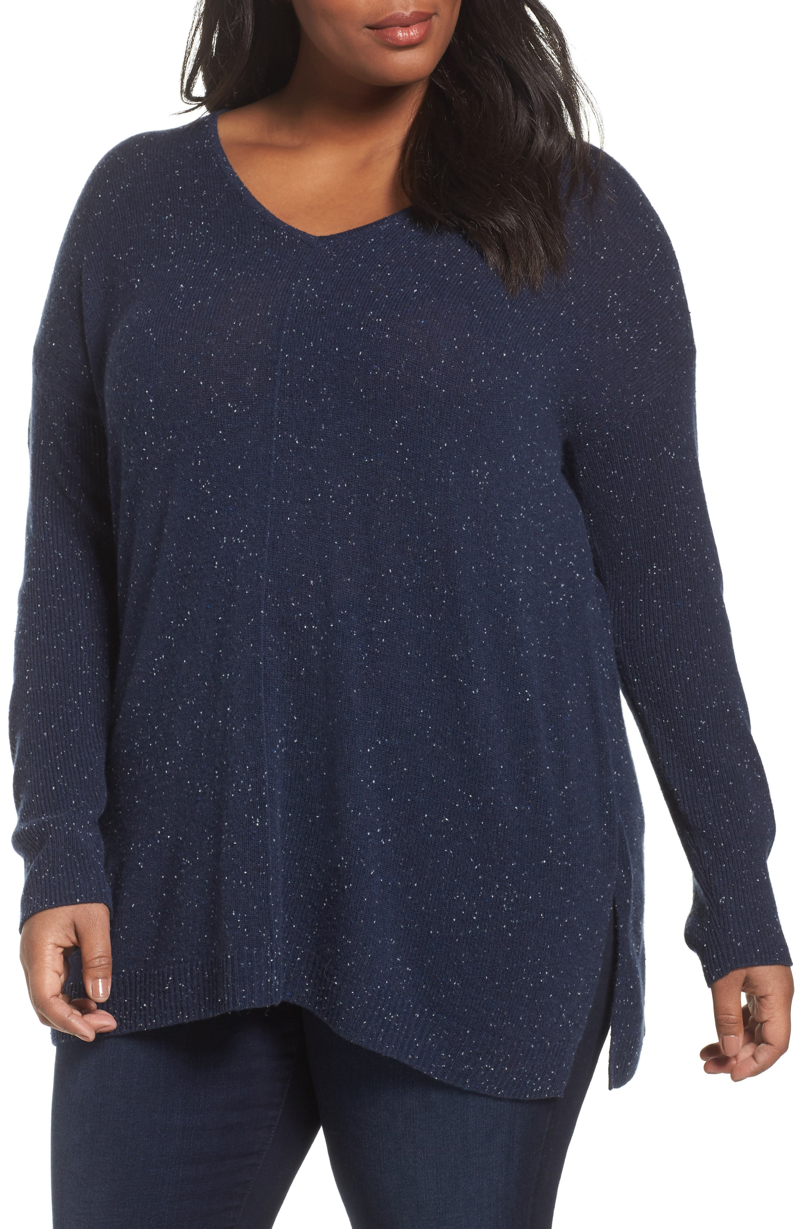 Sejour Easy V-Neck Wool & Cashmere Pullover (Plus Size)