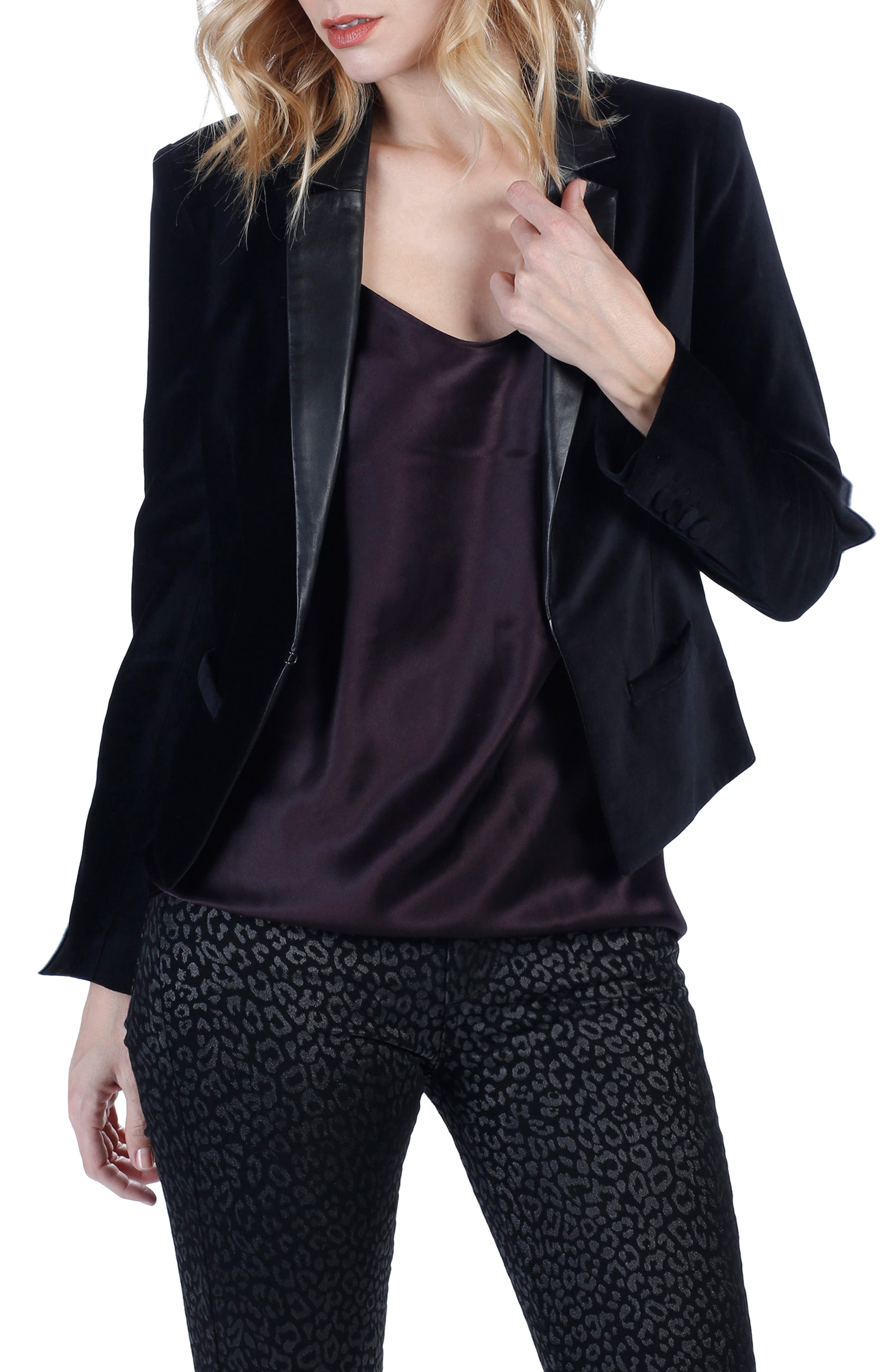 PAIGE Camilia Leather Lapel Velvet Jacket