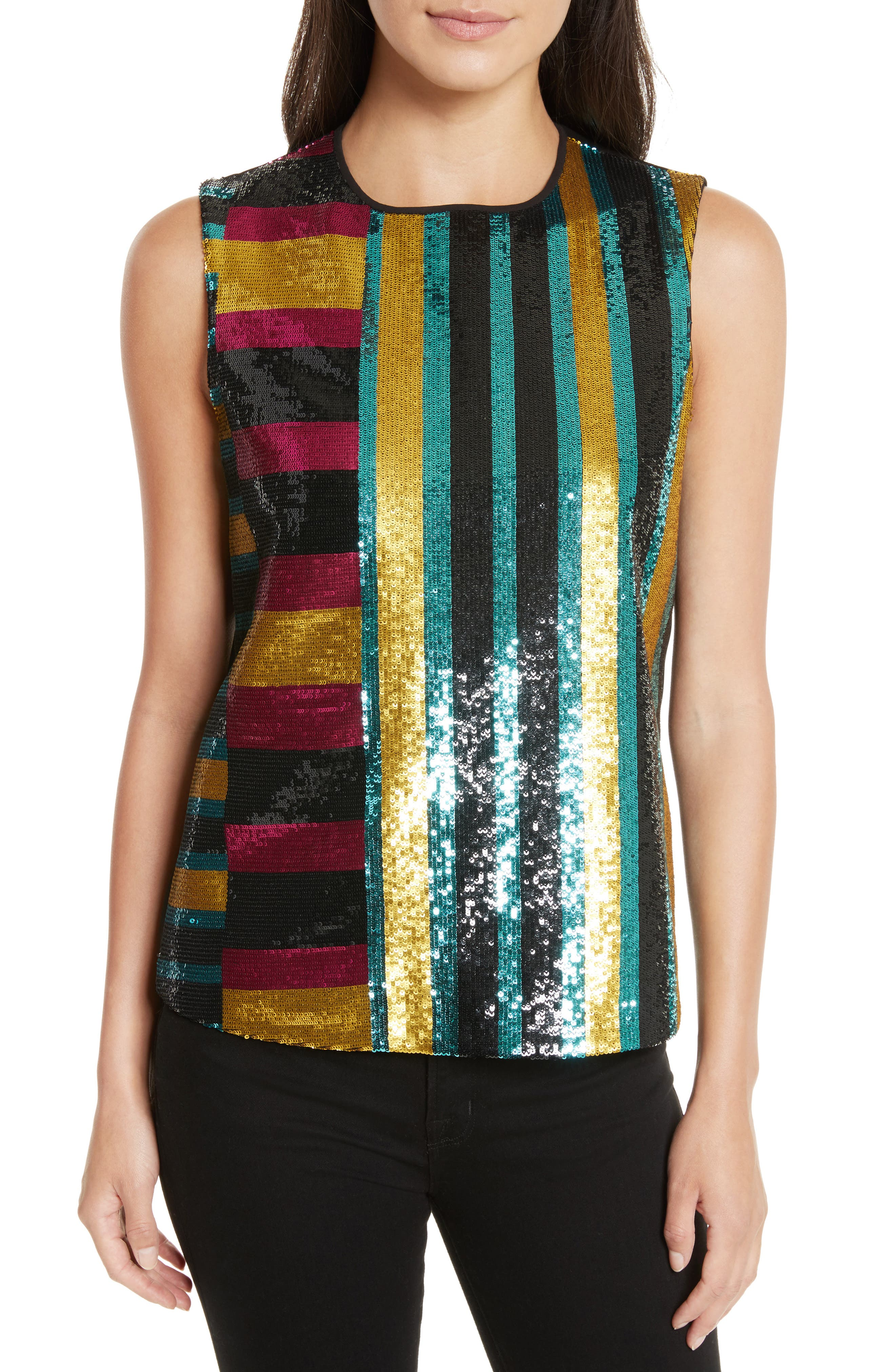 Shimmer Sequin Front Shell,                         Main,                         color, Saxon Stripe Lemon/ Black