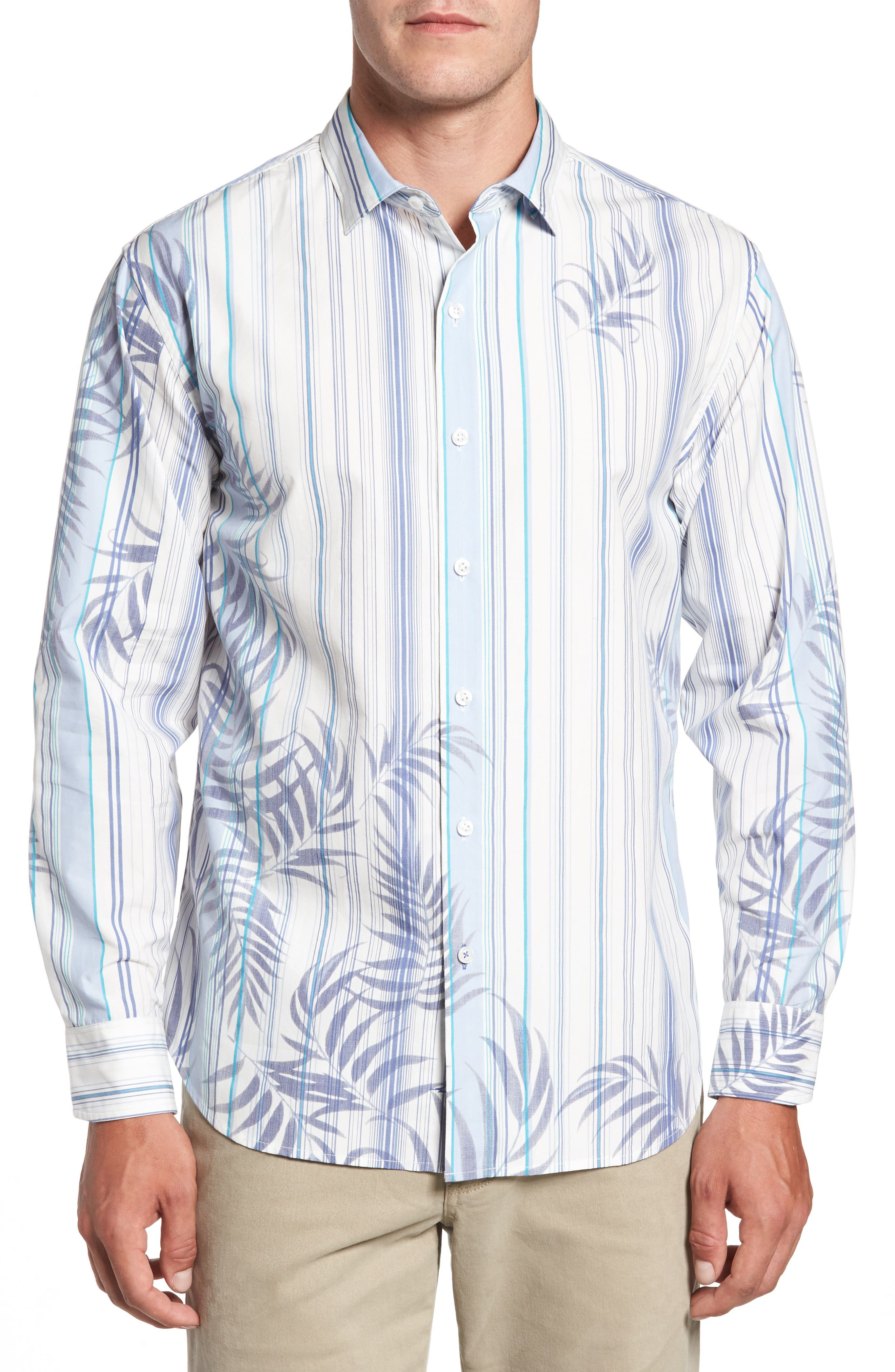 Frond with the Wind Sport Shirt,                         Main,                         color, Violet Petal