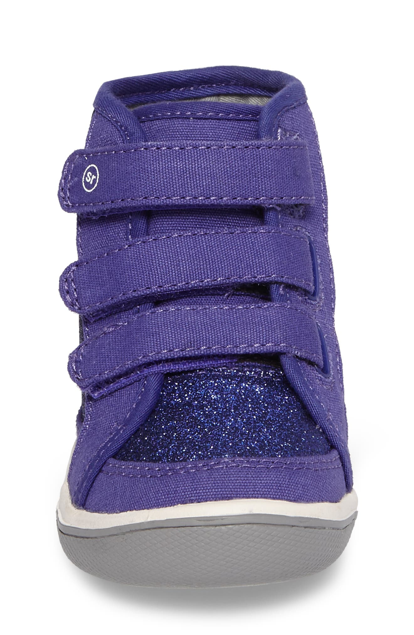 Ellis Glitter High Top Sneaker,                             Alternate thumbnail 4, color,                             Purple