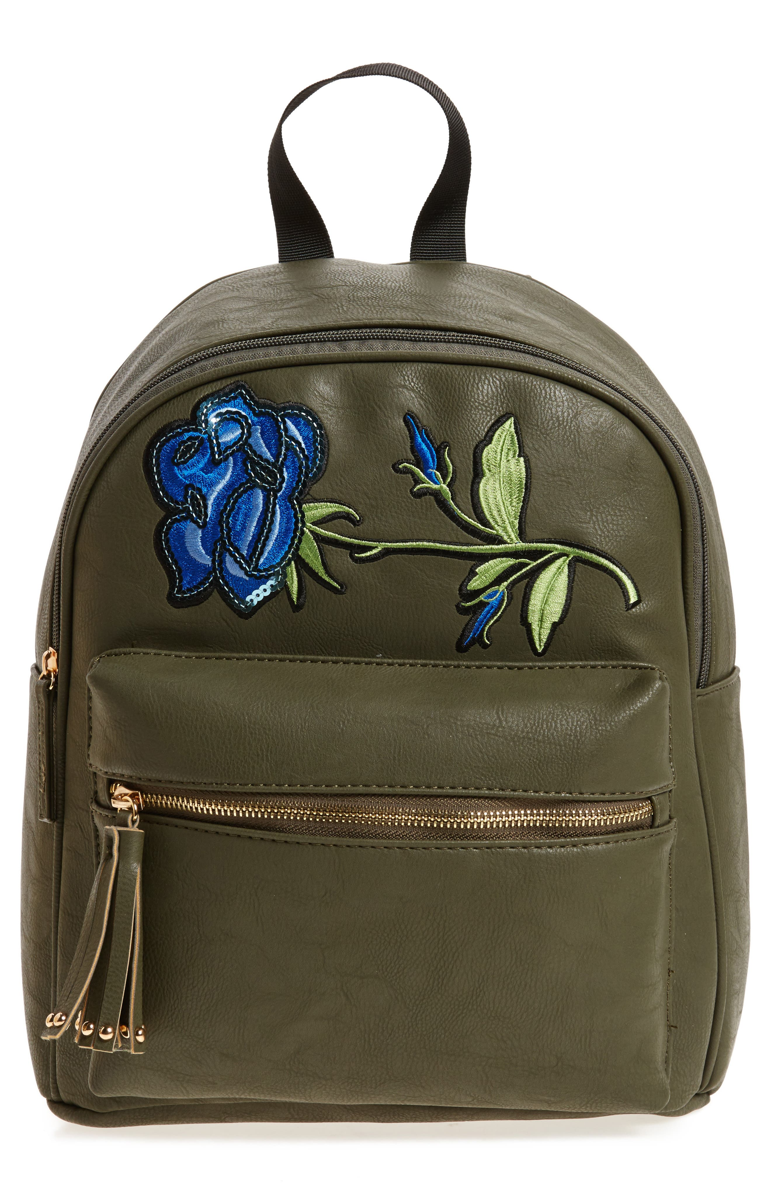 Sequin Rose Appliqué Faux Leather Backpack,                             Main thumbnail 1, color,                             Olive
