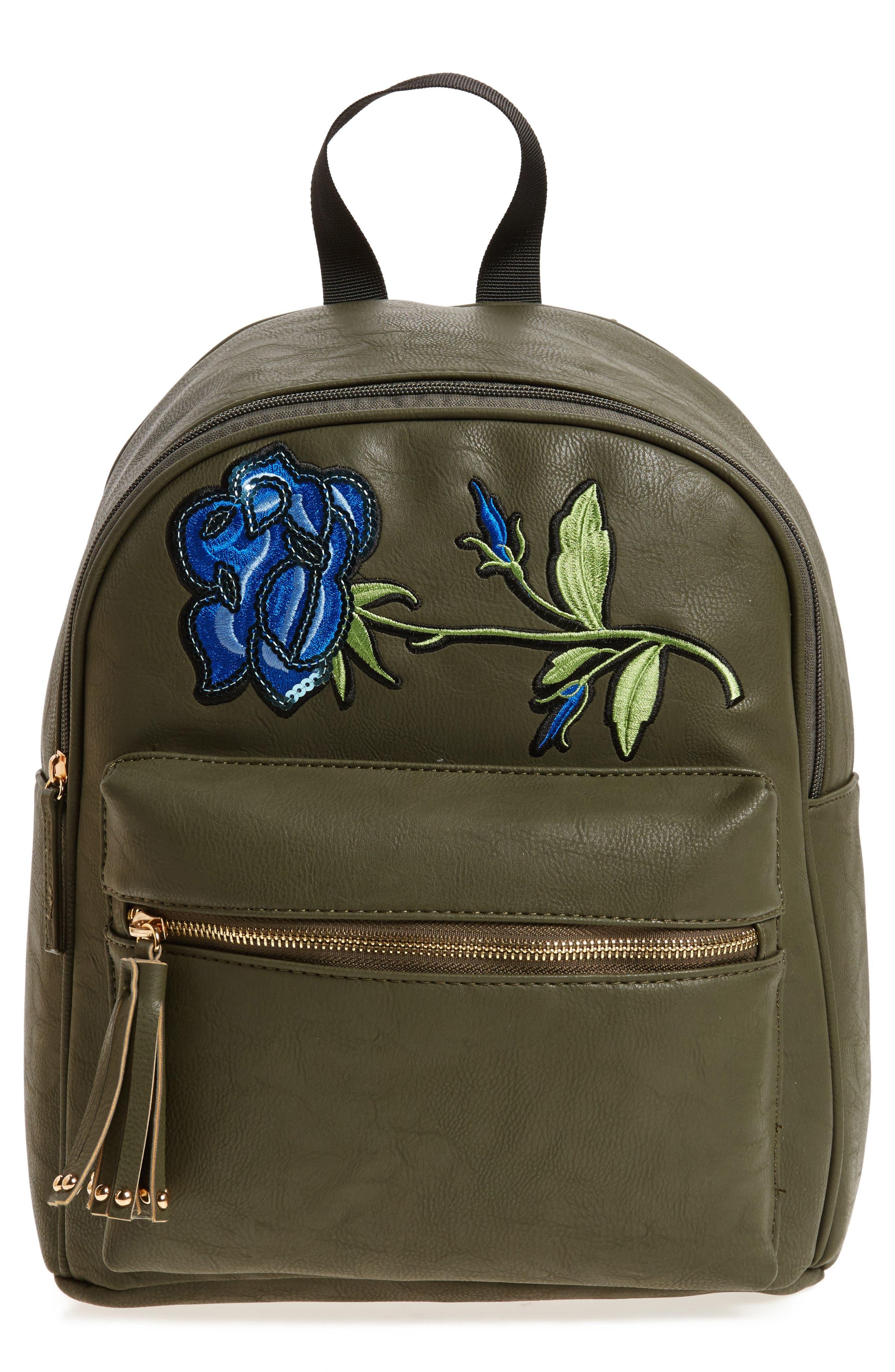 Sequin Rose Appliqué Faux Leather Backpack,                         Main,                         color, Olive