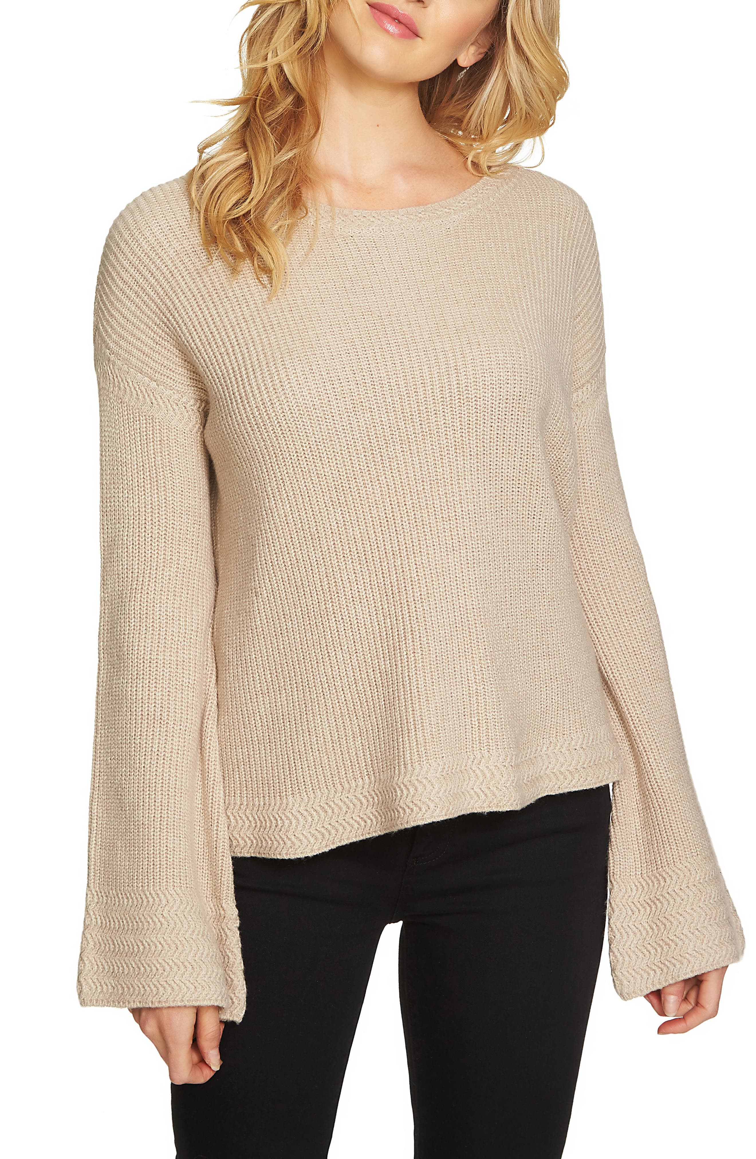 Bell Sleeve Sweater,                             Main thumbnail 1, color,                             Oatmeal Heather