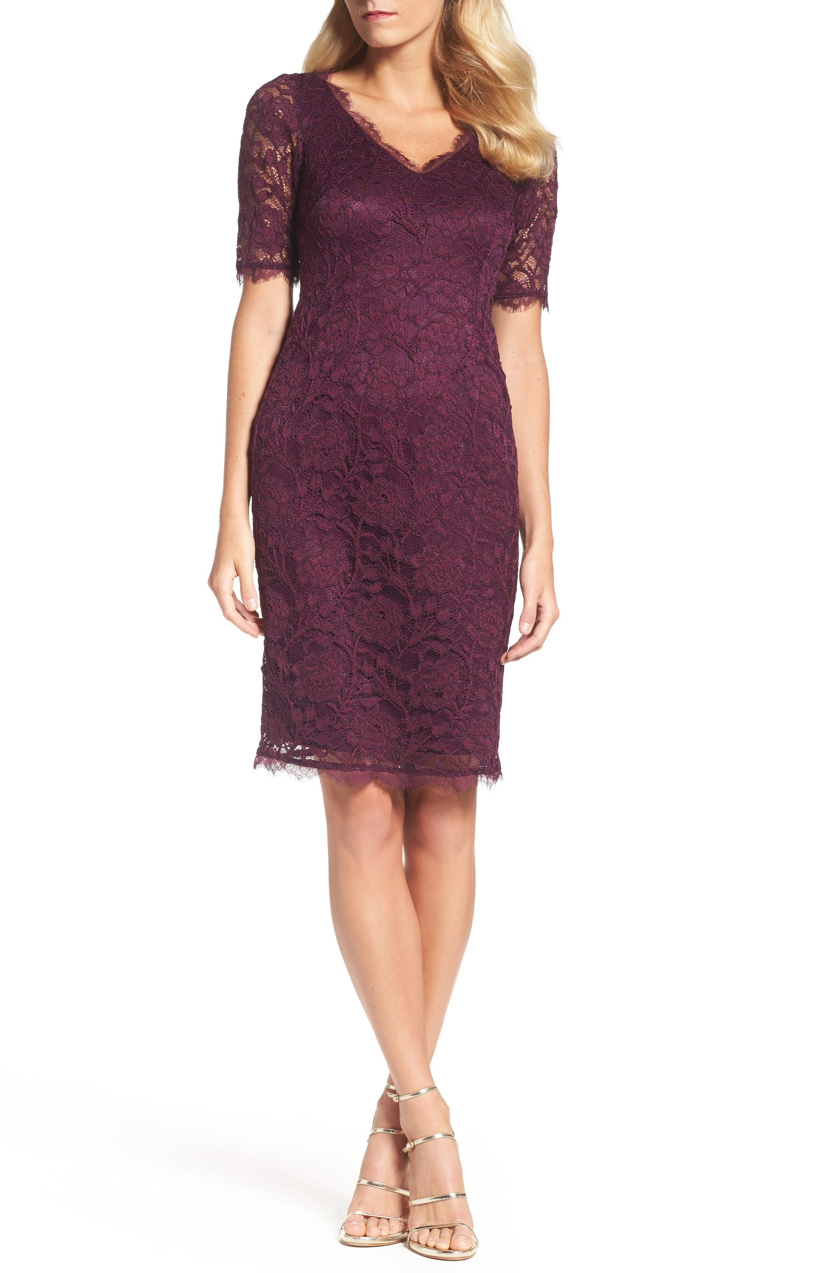 Adrianna Papell Rose Lace Sheath Dress