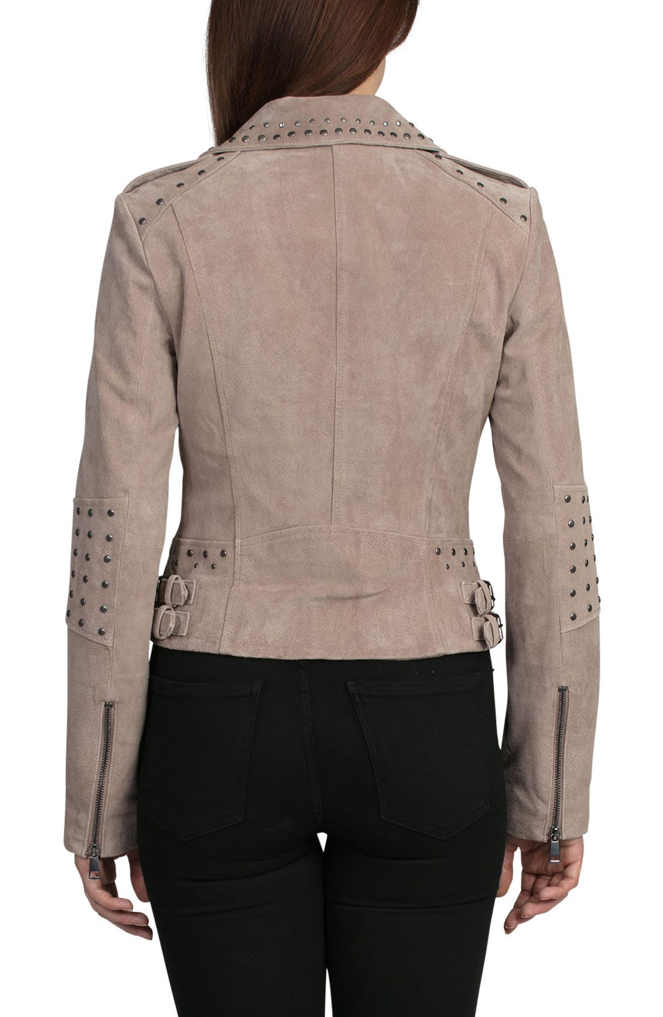Bagatelle Studded Suede Jacket,                             Alternate thumbnail 2, color,                             Latte