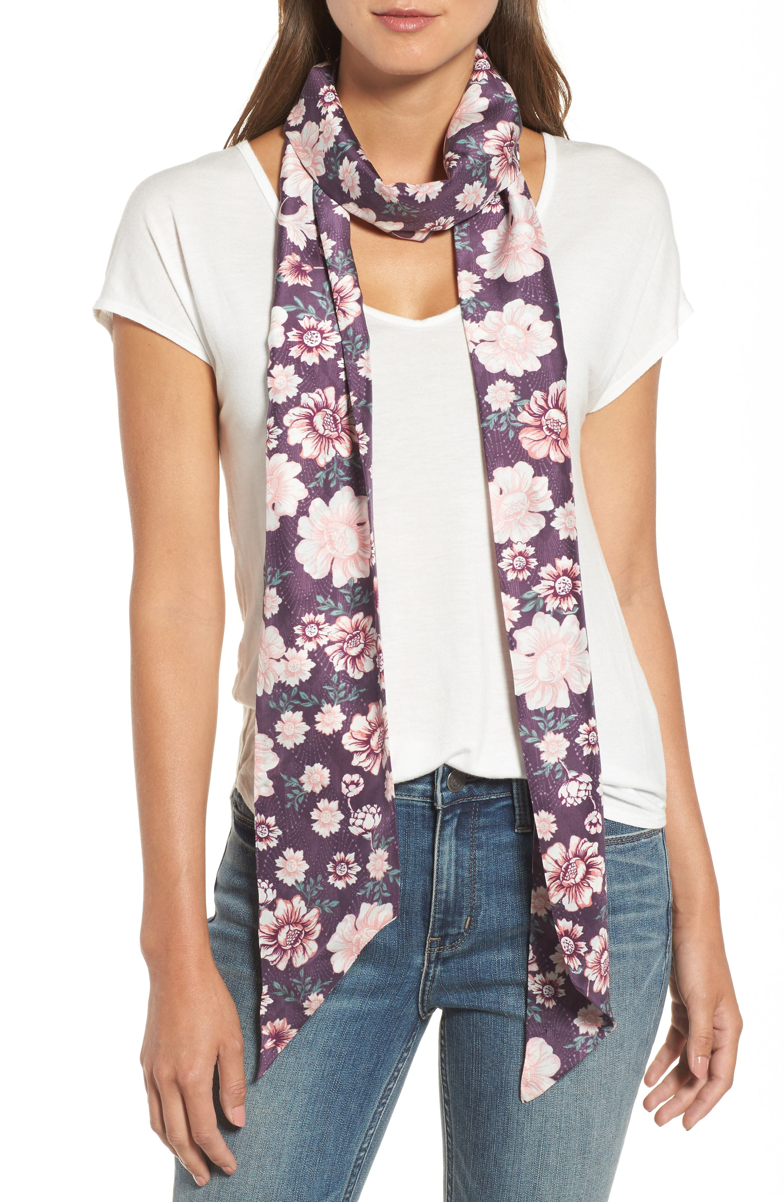Mirrored Floral Silk Skinny Scarf,                         Main,                         color, Purple Combo