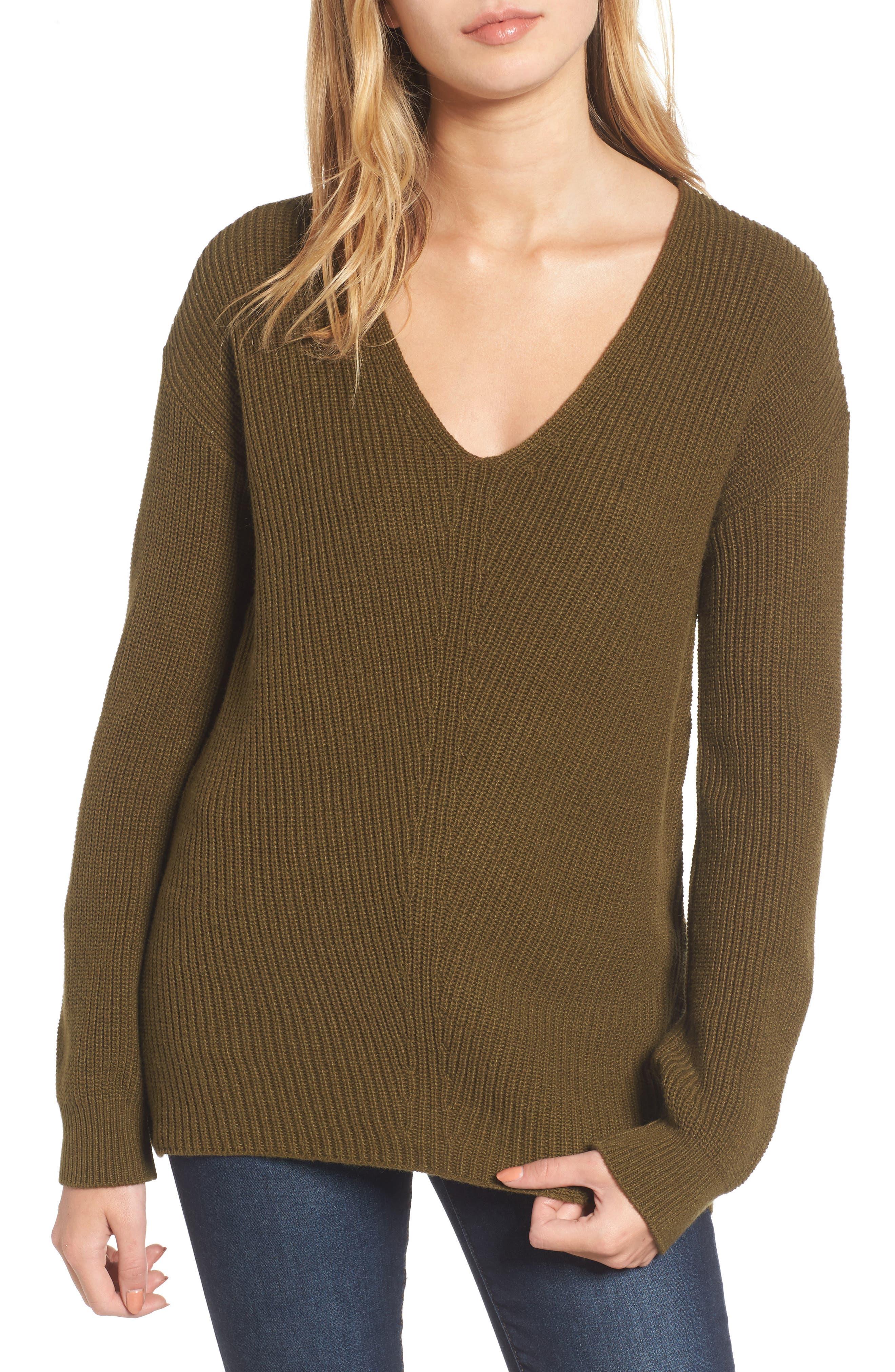 V-Neck Sweater,                         Main,                         color, Olive Dark