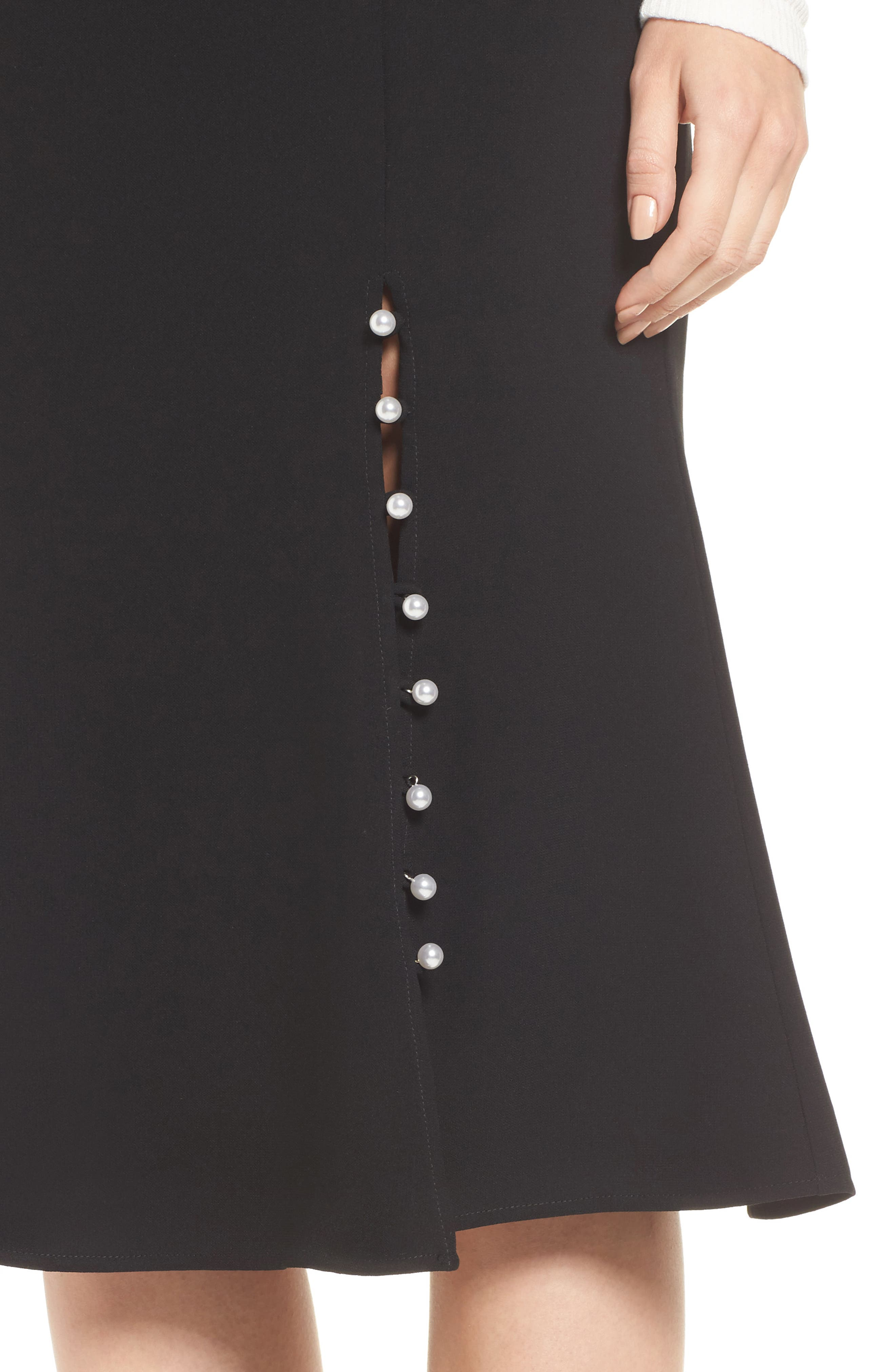 Button Front Skirt,                             Alternate thumbnail 4, color,                             Black