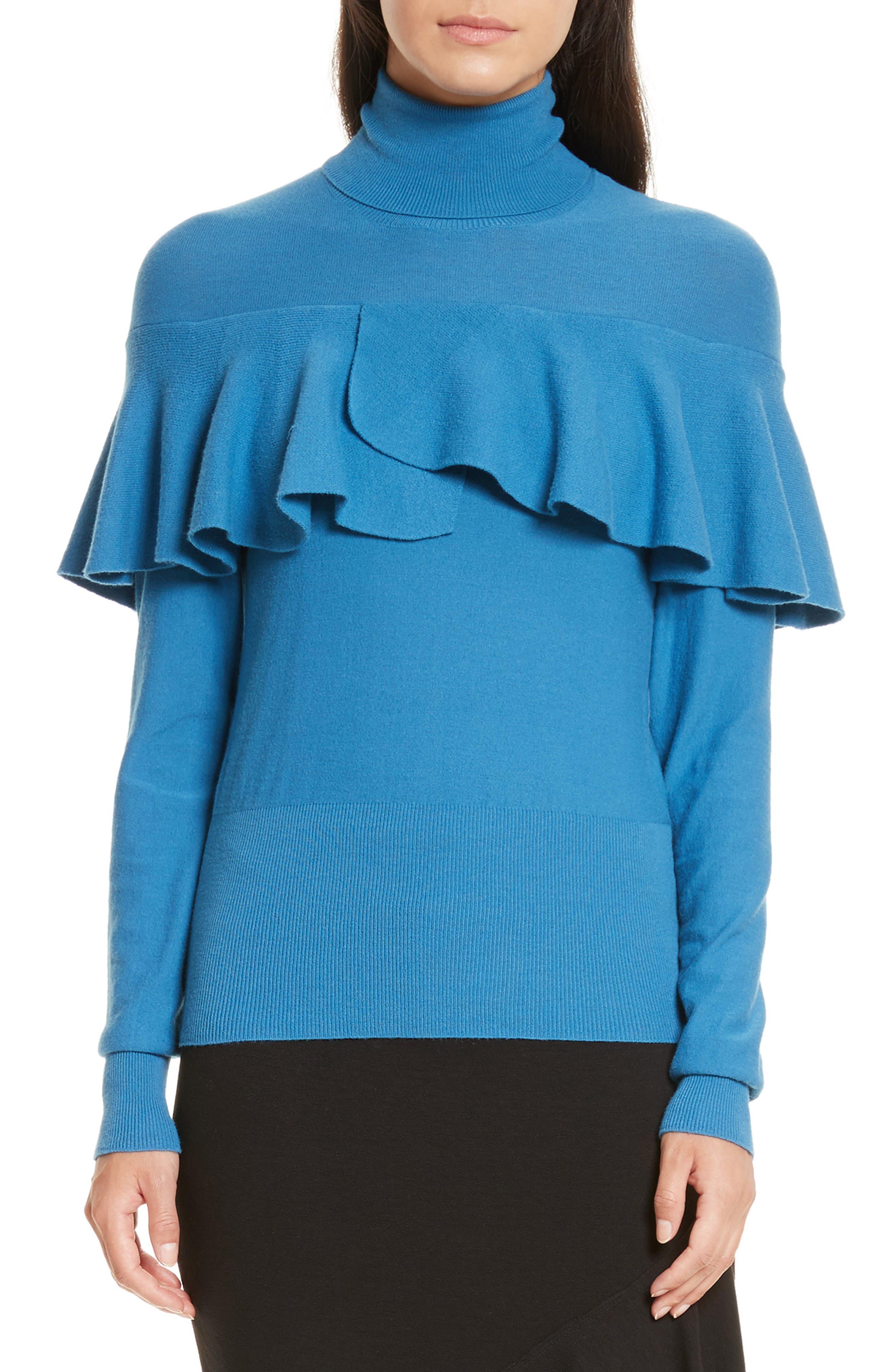 Flounced Turtleneck Sweater,                         Main,                         color, Celestial