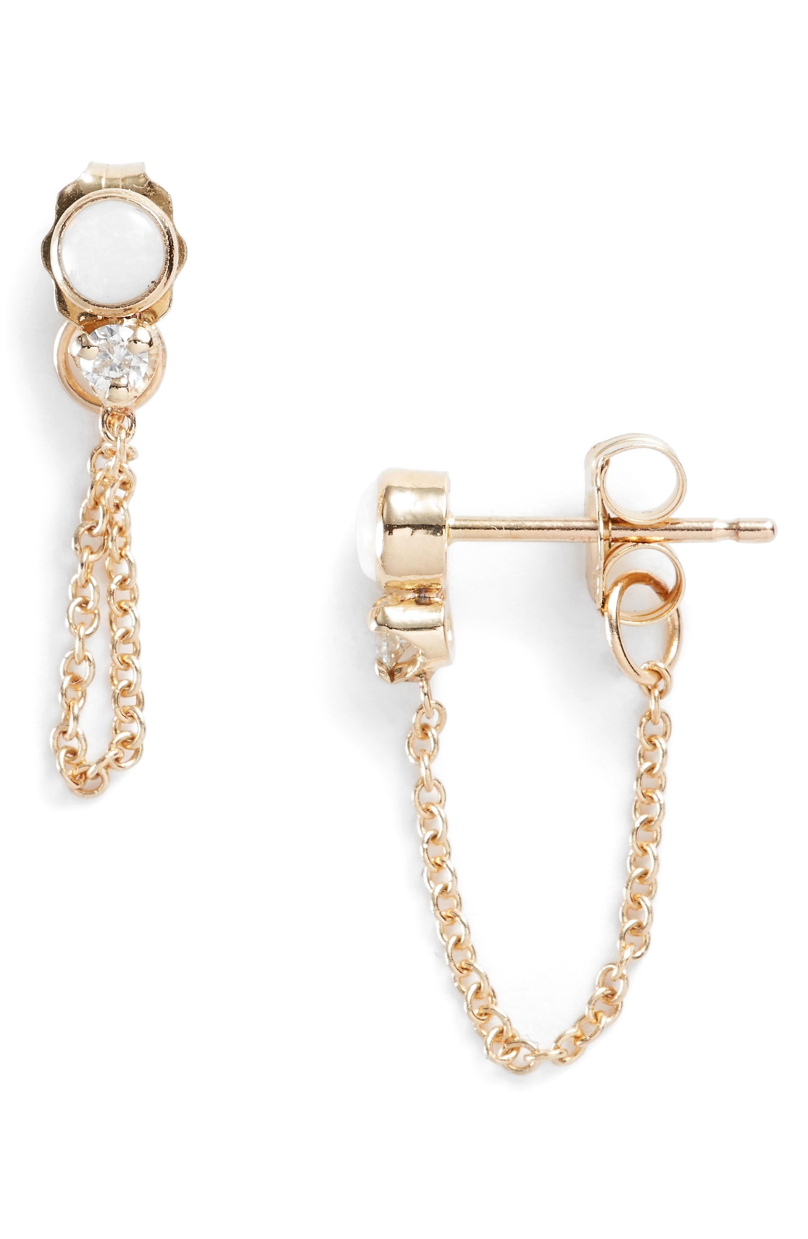 Diamond & Opal Front Back Earrings,                             Main thumbnail 1, color,                             Yellow Gold/ Opal