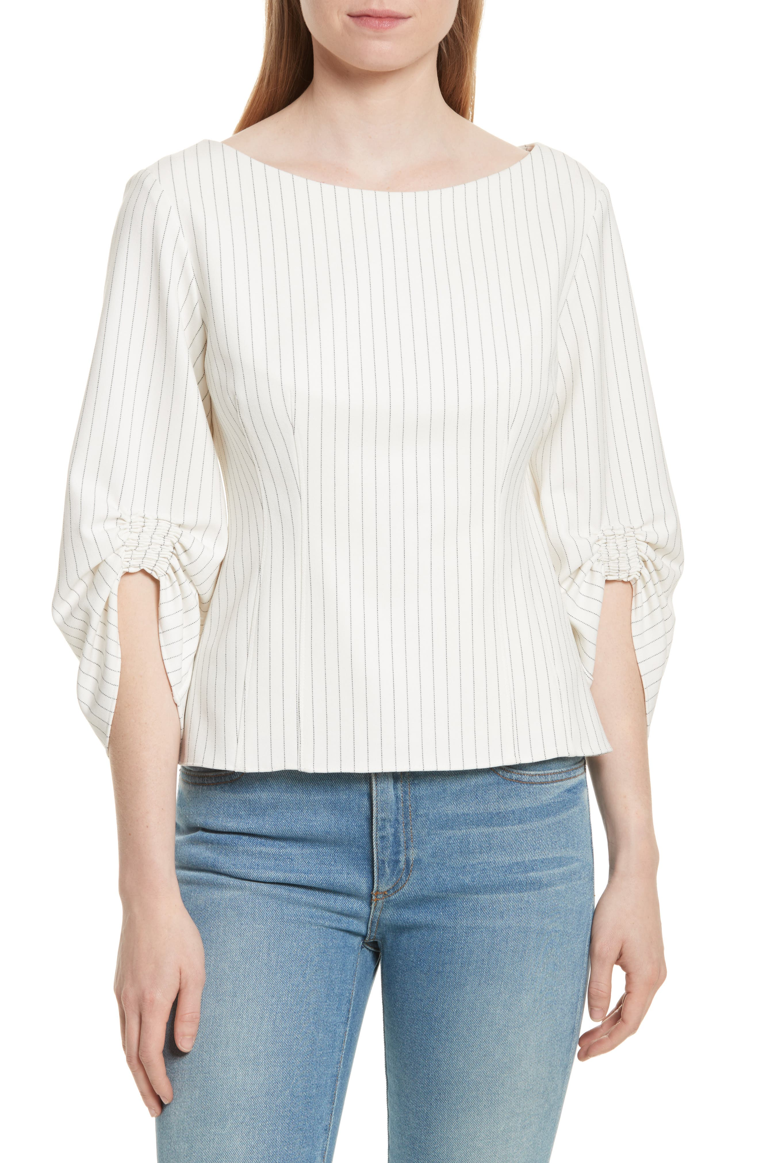 Corset Ruched Sleeve Top,                         Main,                         color, Ivory Multi