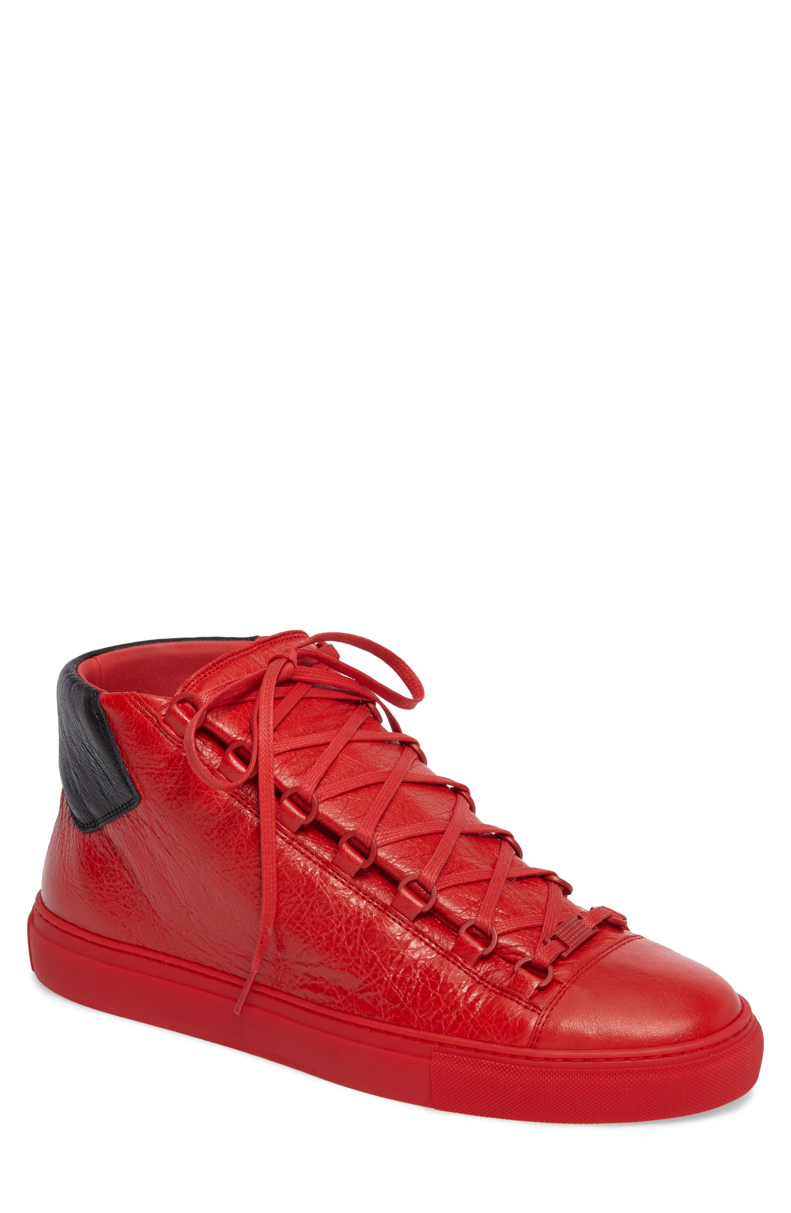 Arena High Sneaker,                         Main,                         color, Rouge Paprika/ Noir Leather
