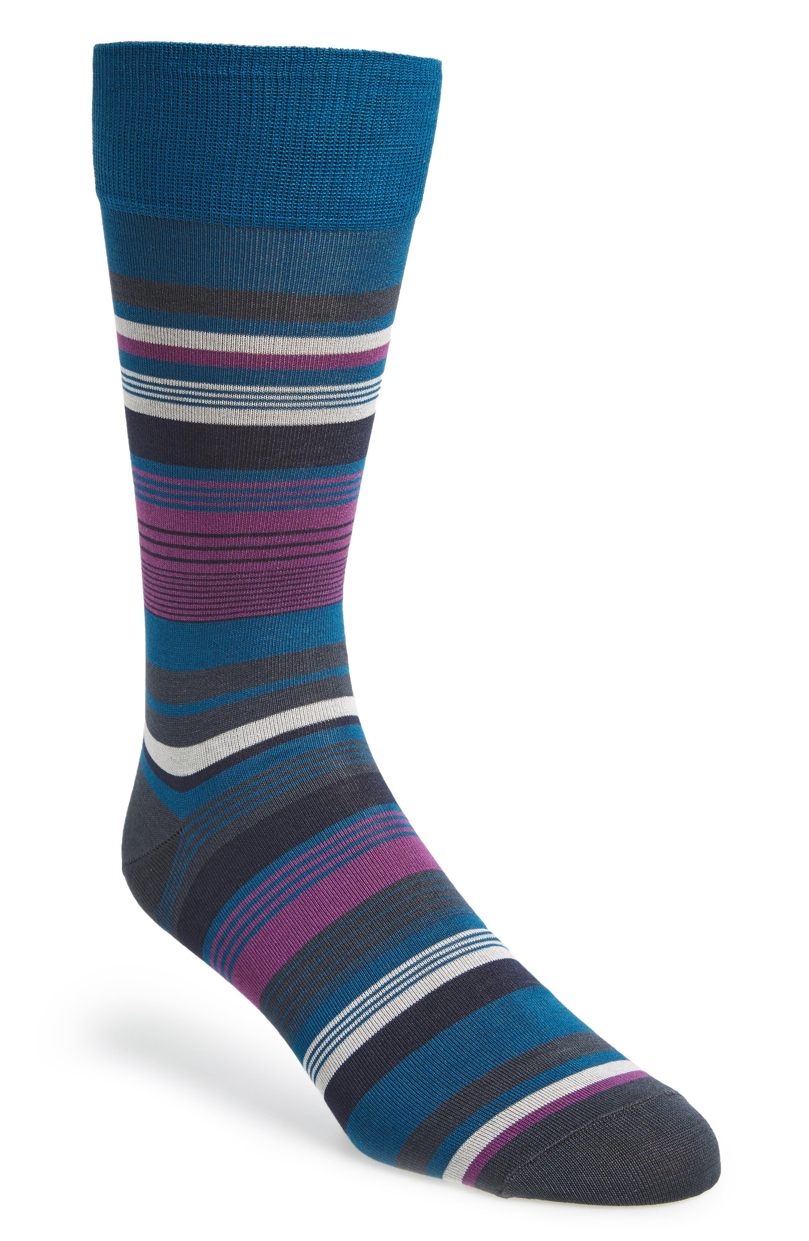 Stripe Socks,                         Main,                         color, Teal Mosaic