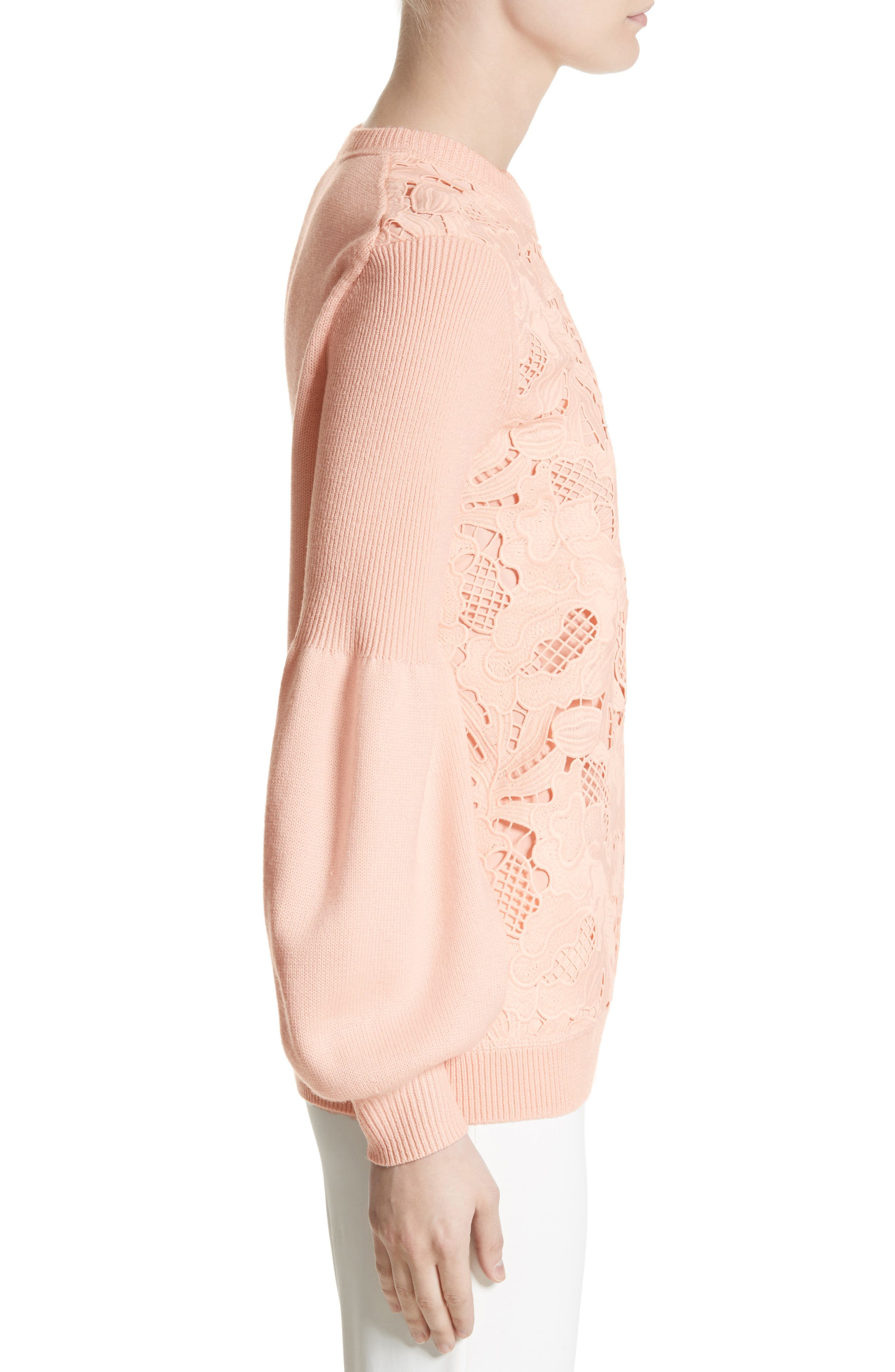 Lace Trim Puff Sleeve Sweater,                             Alternate thumbnail 3, color,                             Blush