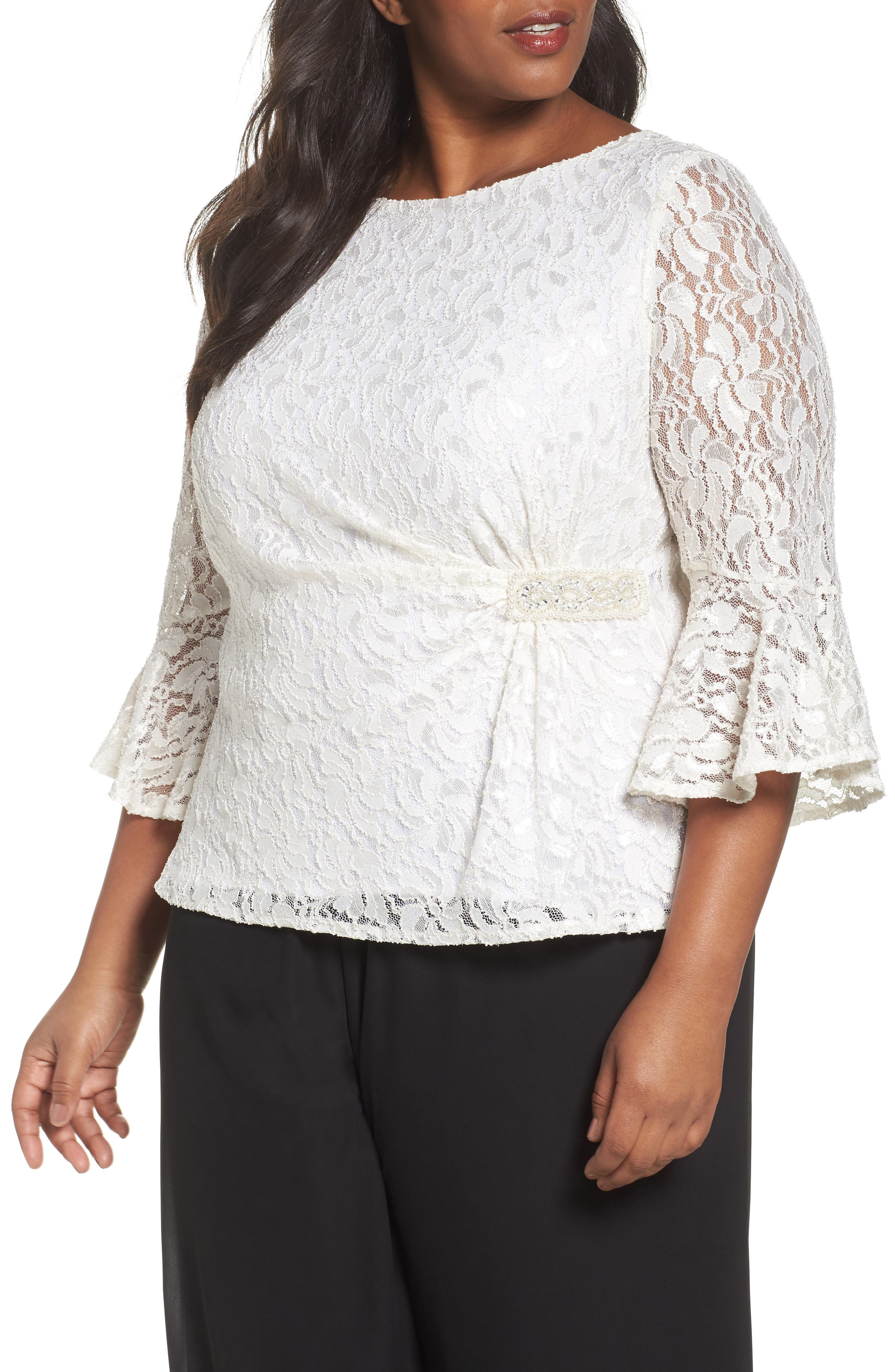 Alex Evenings Embellished Side Lace Blouse (Plus Size)