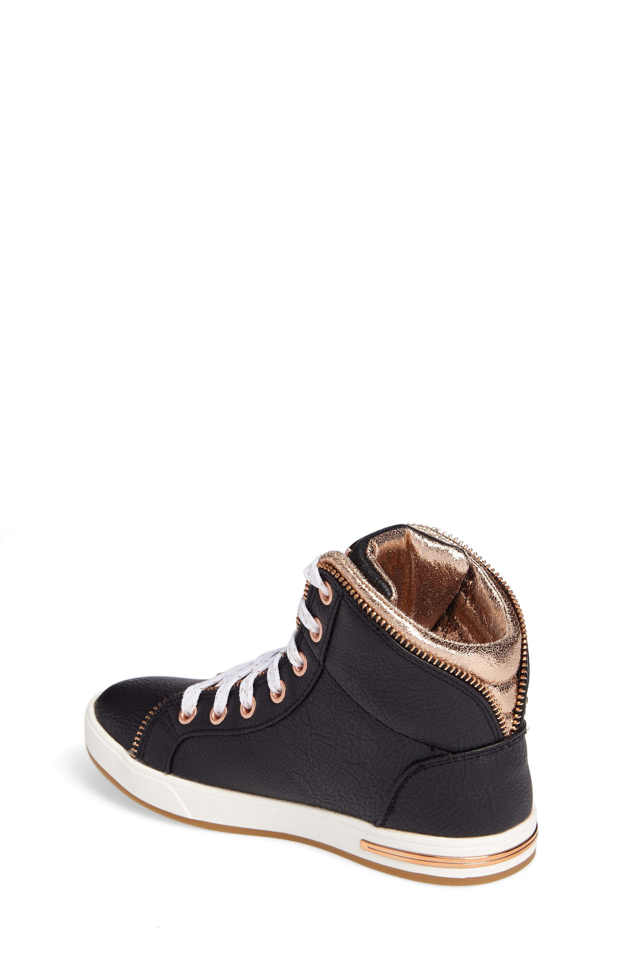 Shoutouts Embellished High Top Sneaker,                             Alternate thumbnail 2, color,                             Black/ Rose Gold