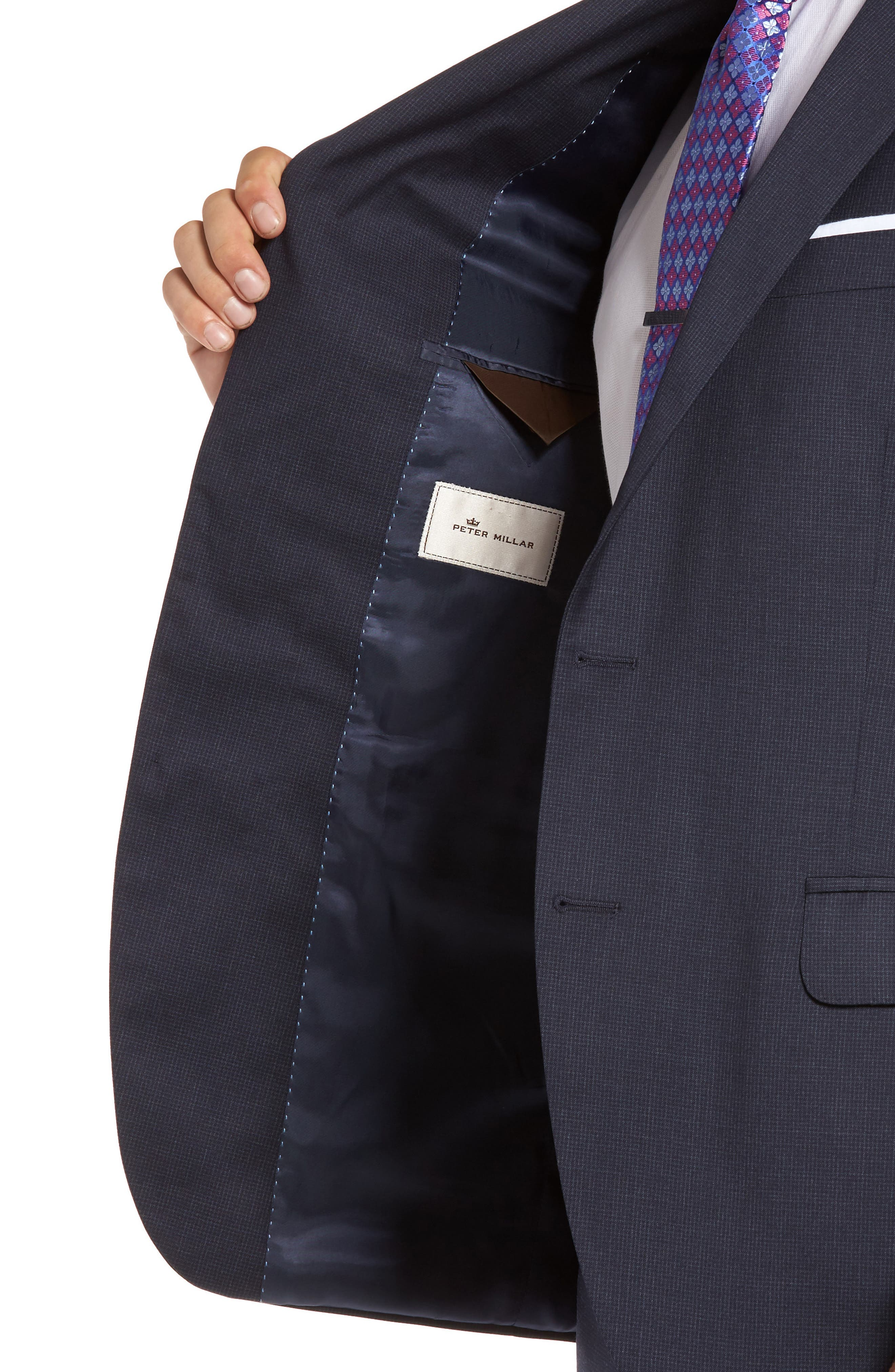 Flynn Classic Fit Check Wool Suit,                             Alternate thumbnail 4, color,                             Navy