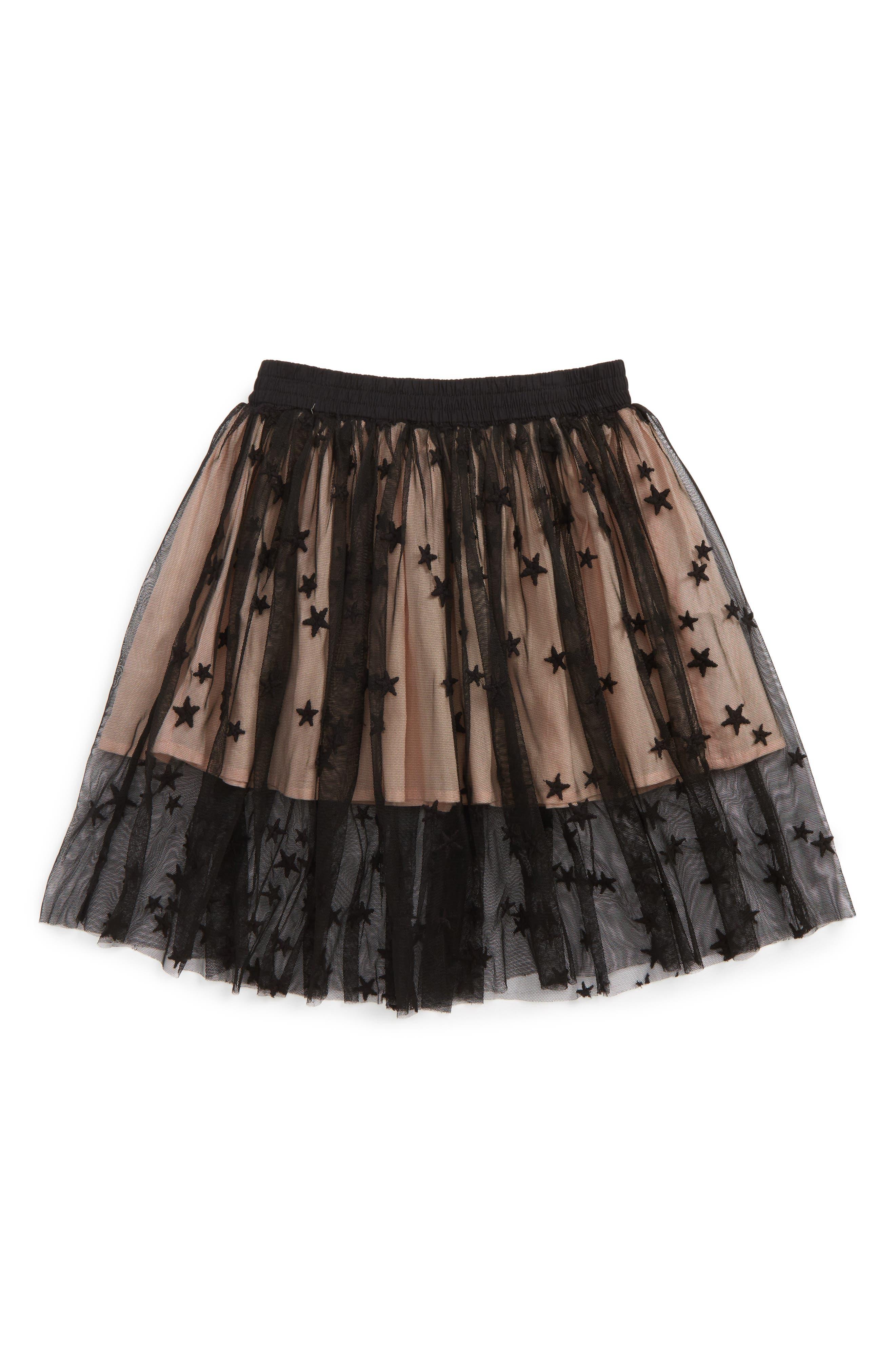 Kids Amalie Star Tulle Skirt,                         Main,                         color, Black