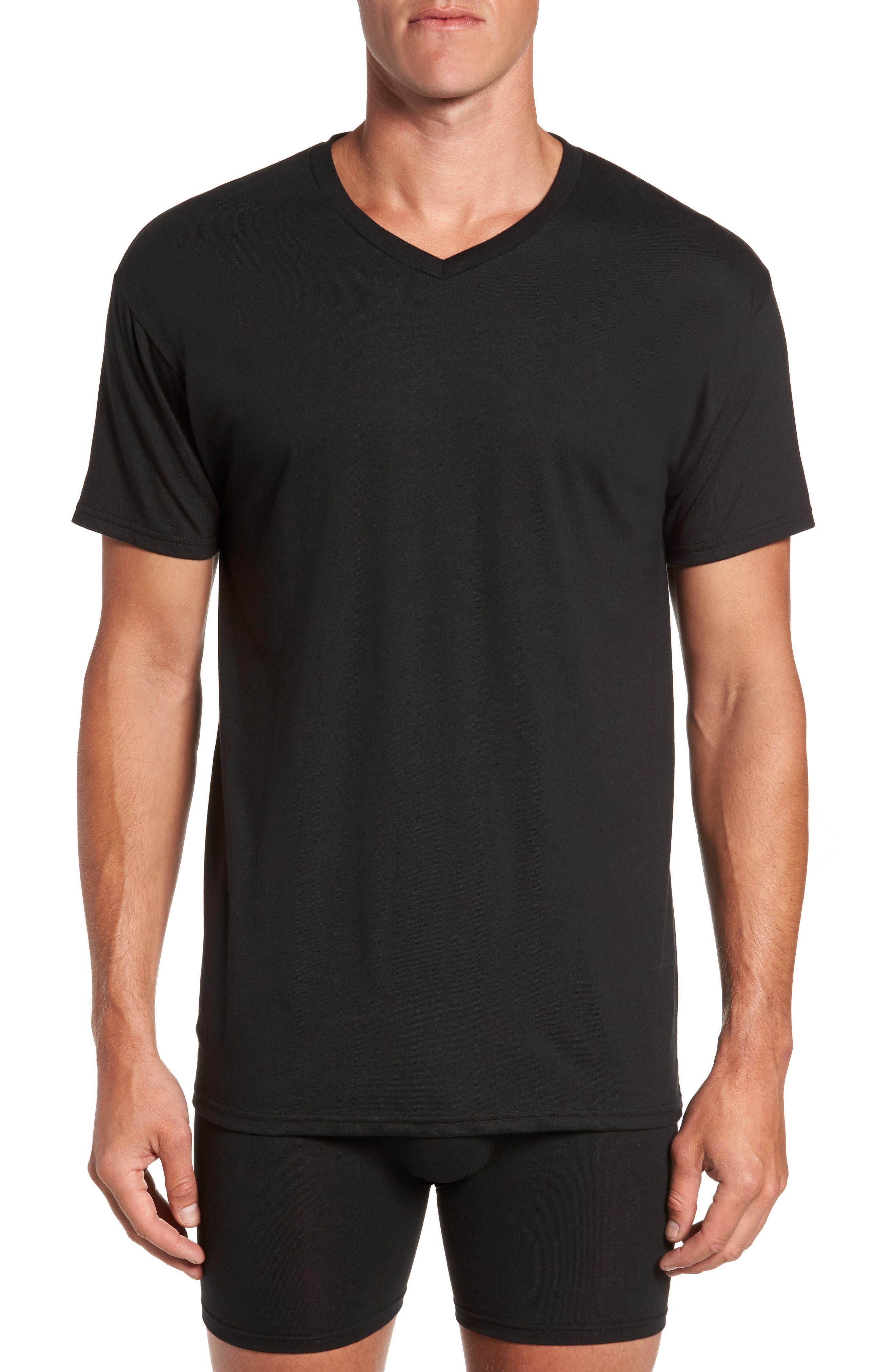 Alternate Image 2  - Hanes Luxury Essentials 3-Pack V-Neck T-Shirt