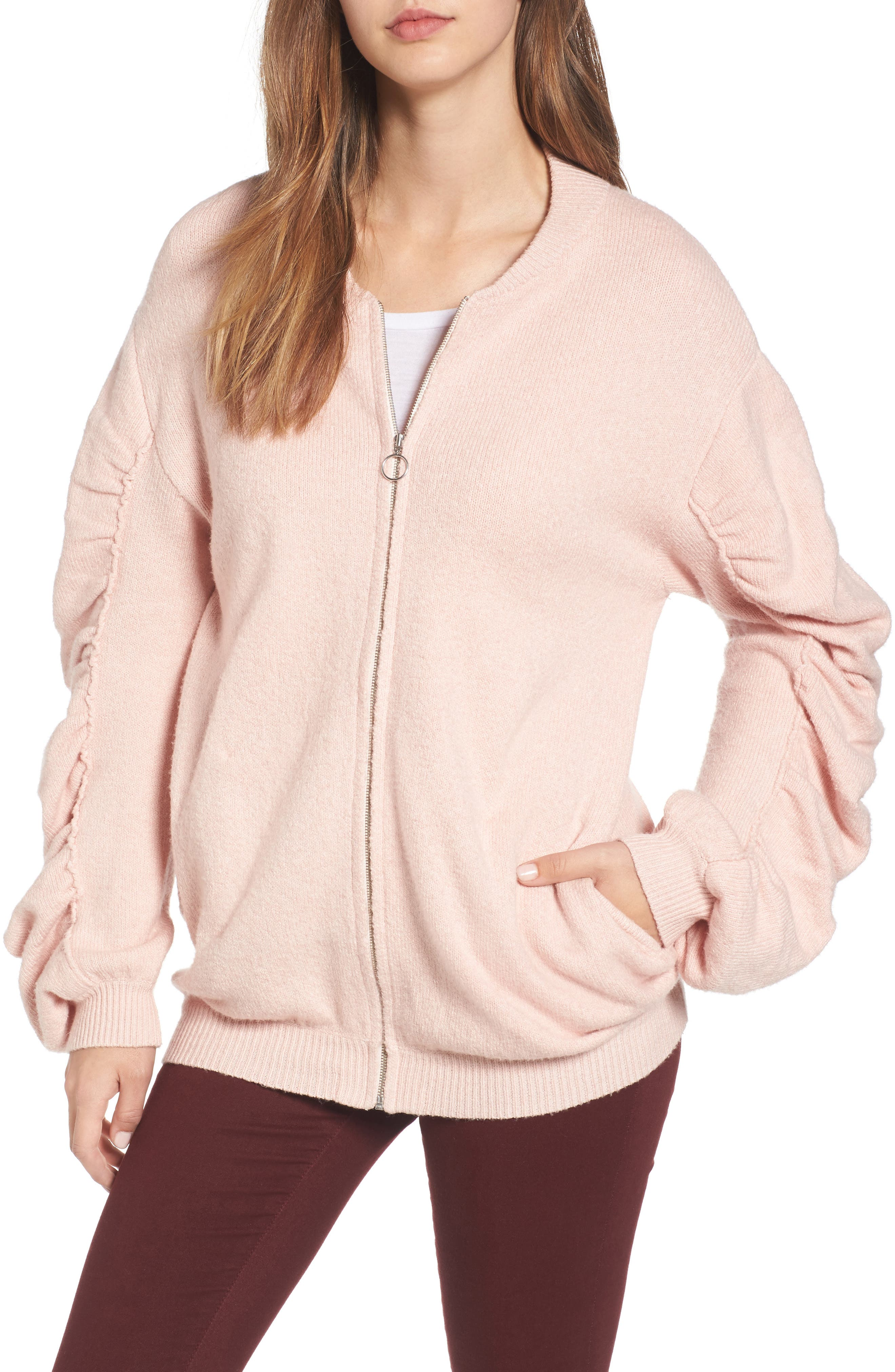 Knit Ruched Sleeve Bomber,                         Main,                         color, Pink Smoke