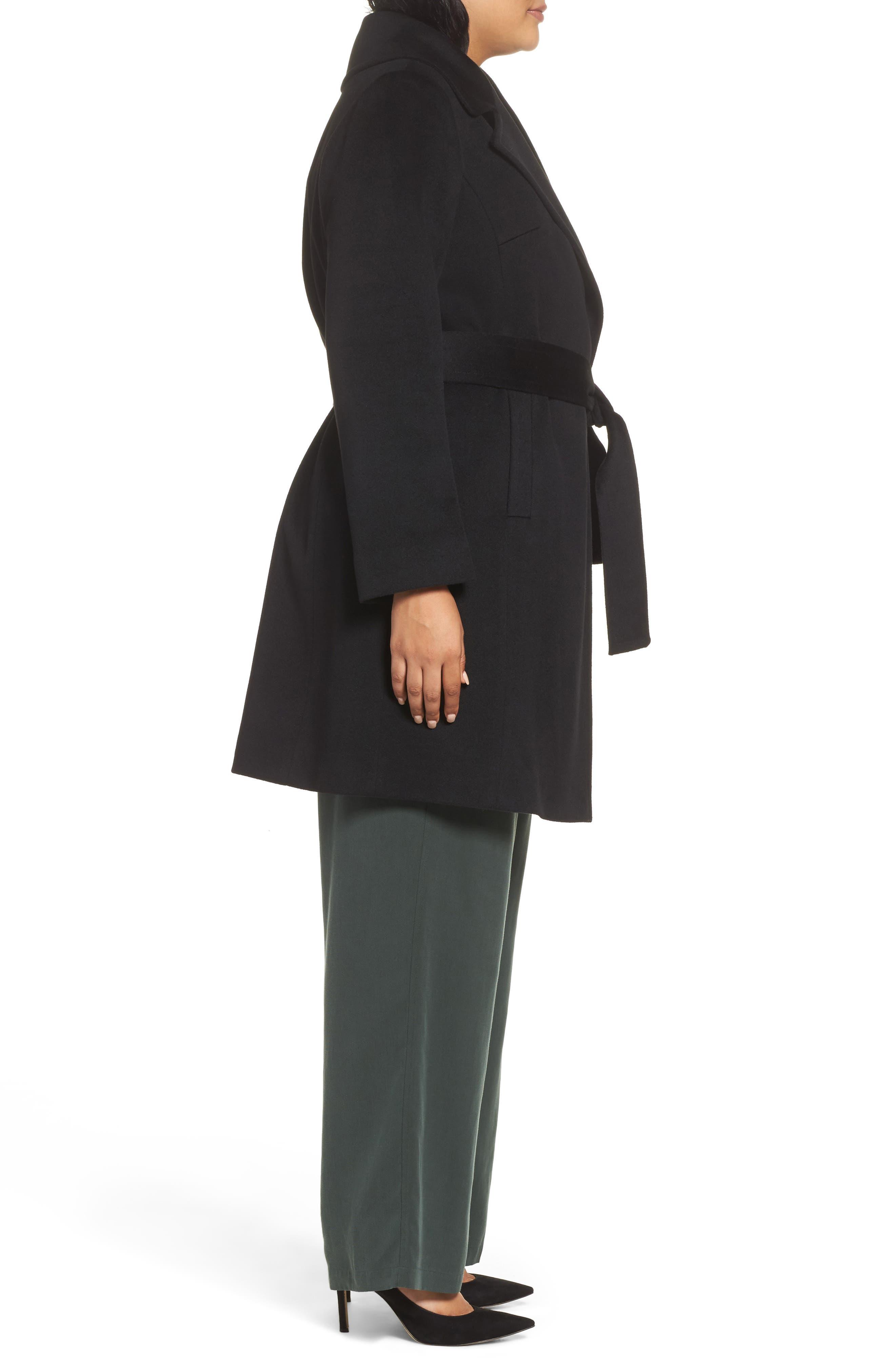 Alternate Image 3  - Fleurette Wool Wrap Coat (Plus Size)