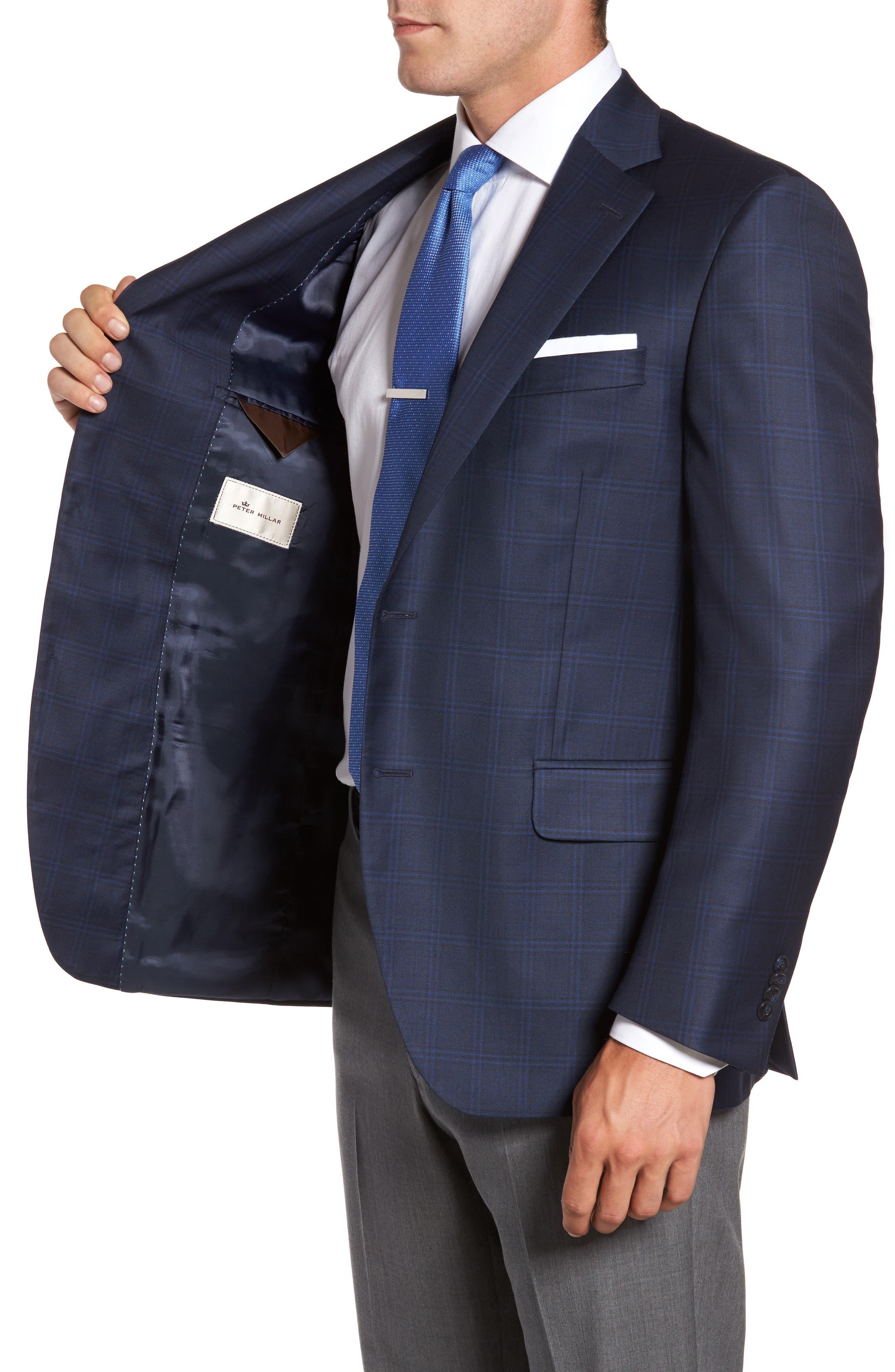 Flynn Classic Fit Plaid Wool Sport Coat,                             Alternate thumbnail 3, color,                             Blue