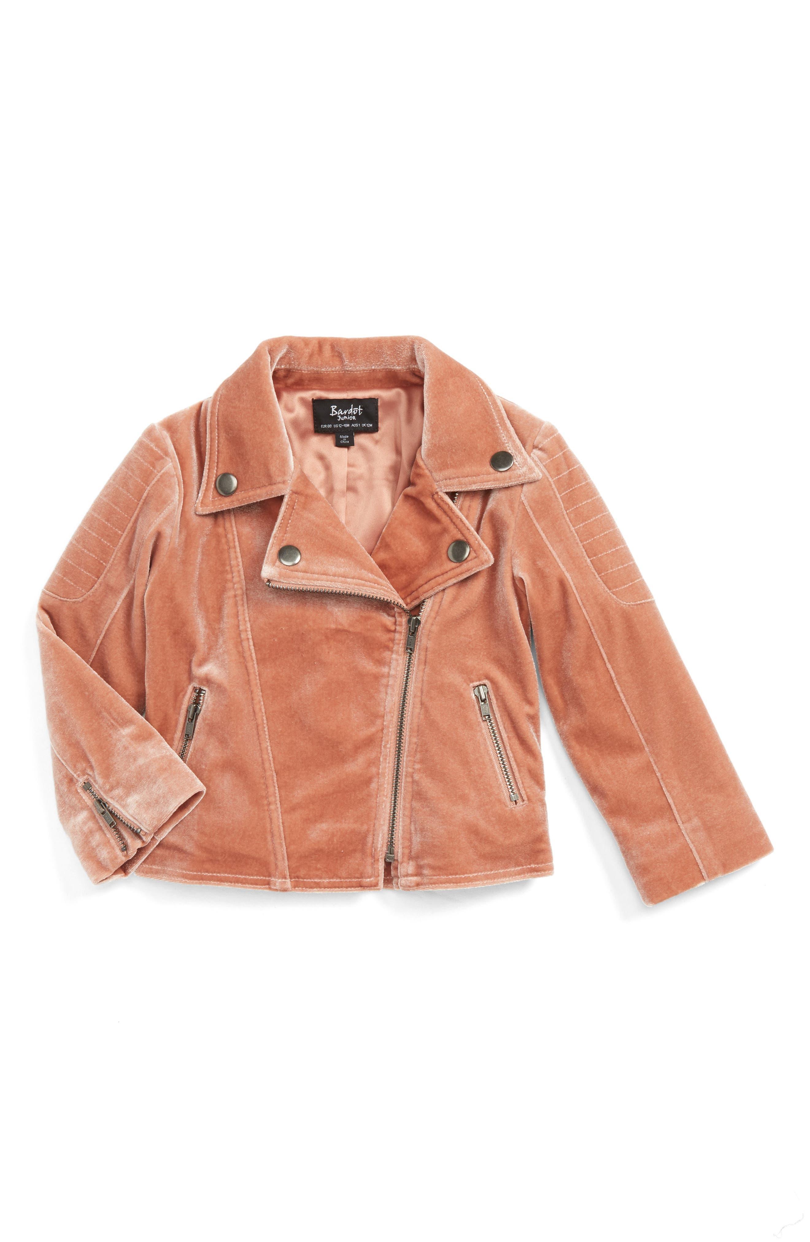 Velour Biker Jacket,                         Main,                         color, Pink