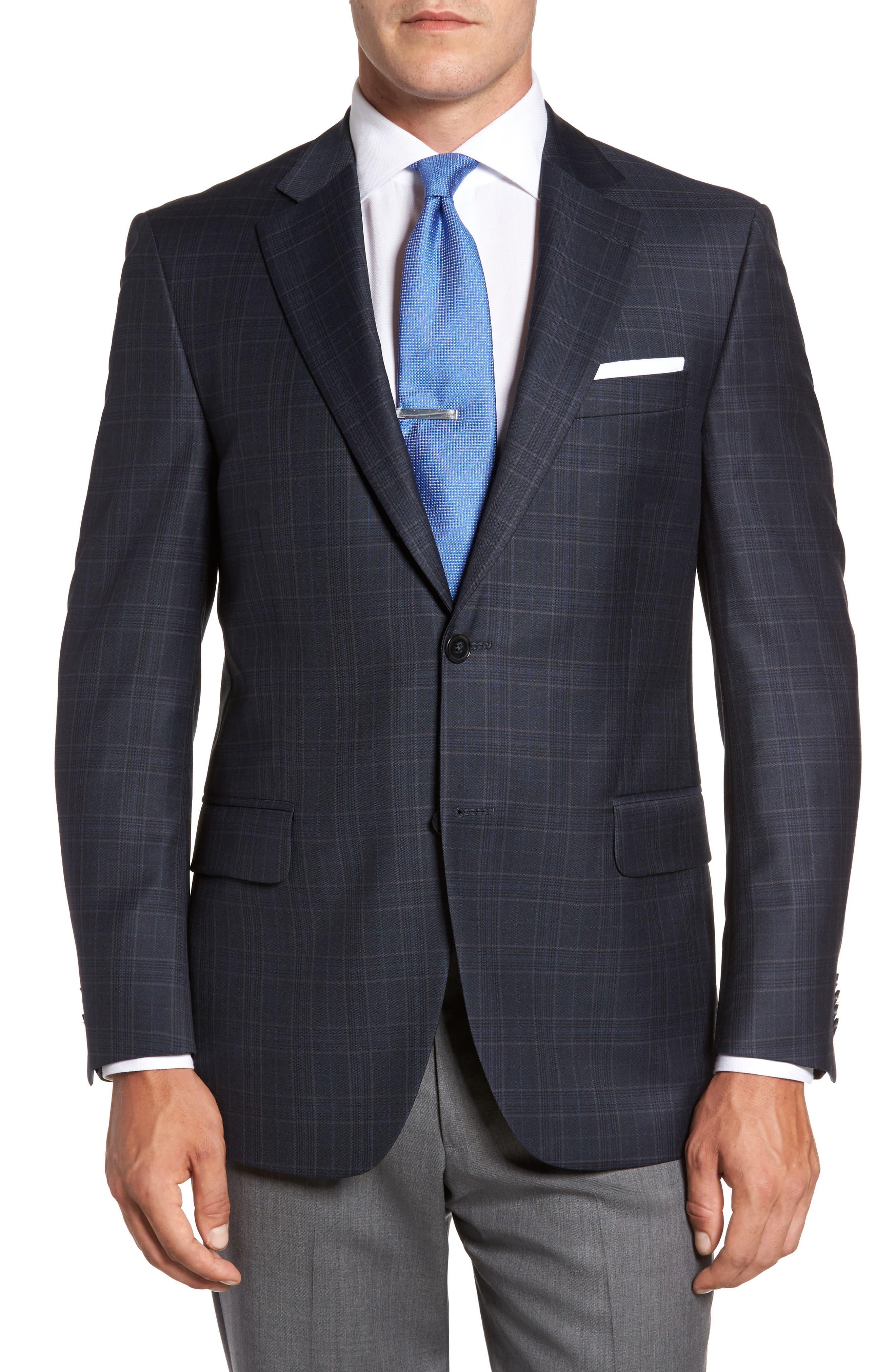 Flynn Classic Fit Plaid Wool Sport Coat,                             Main thumbnail 1, color,                             Navy
