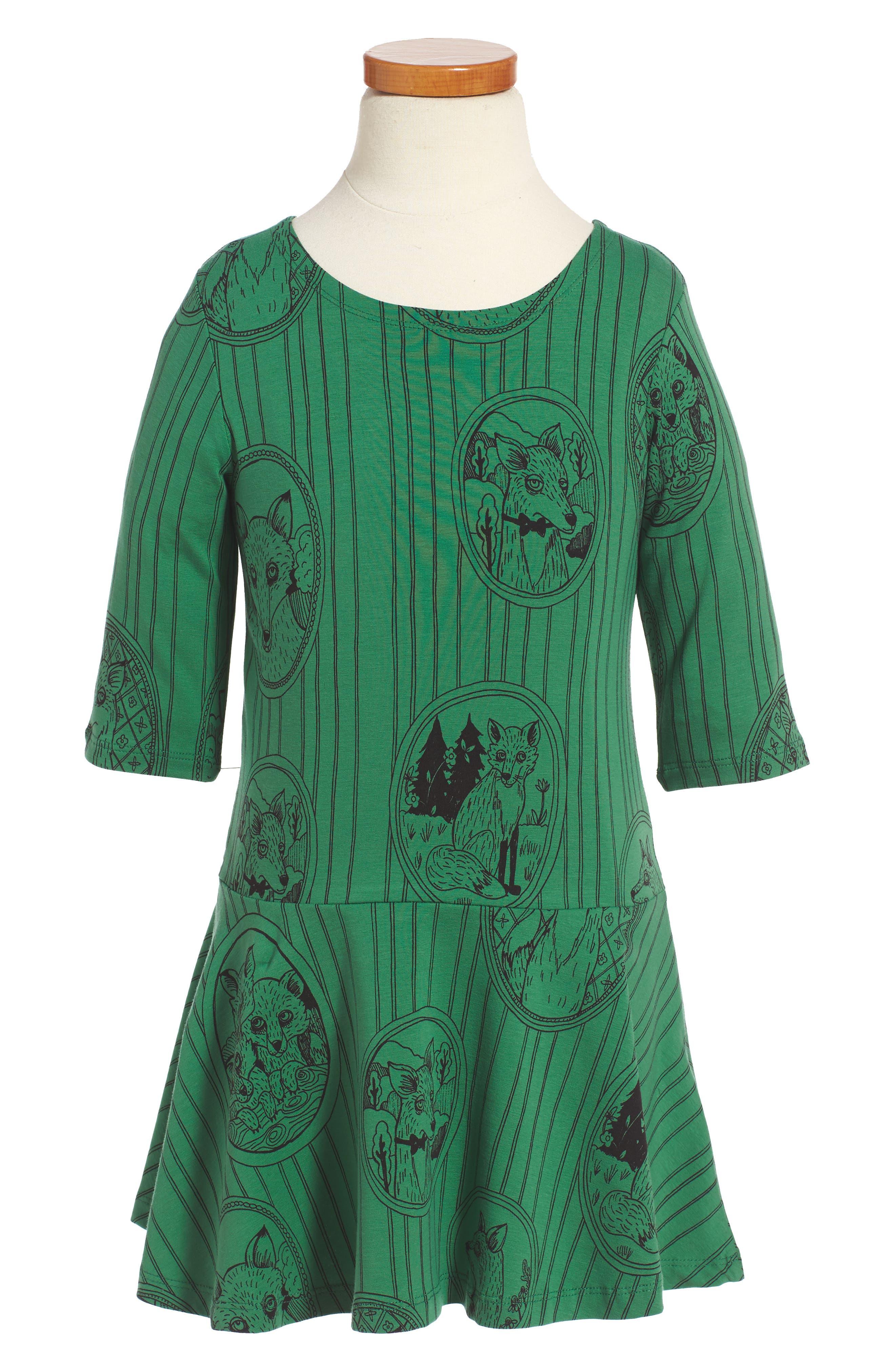 Alternate Image 1 Selected - Mini Rodini Fox Family Drop Waist Dress (Toddler Girls & Little Girls)