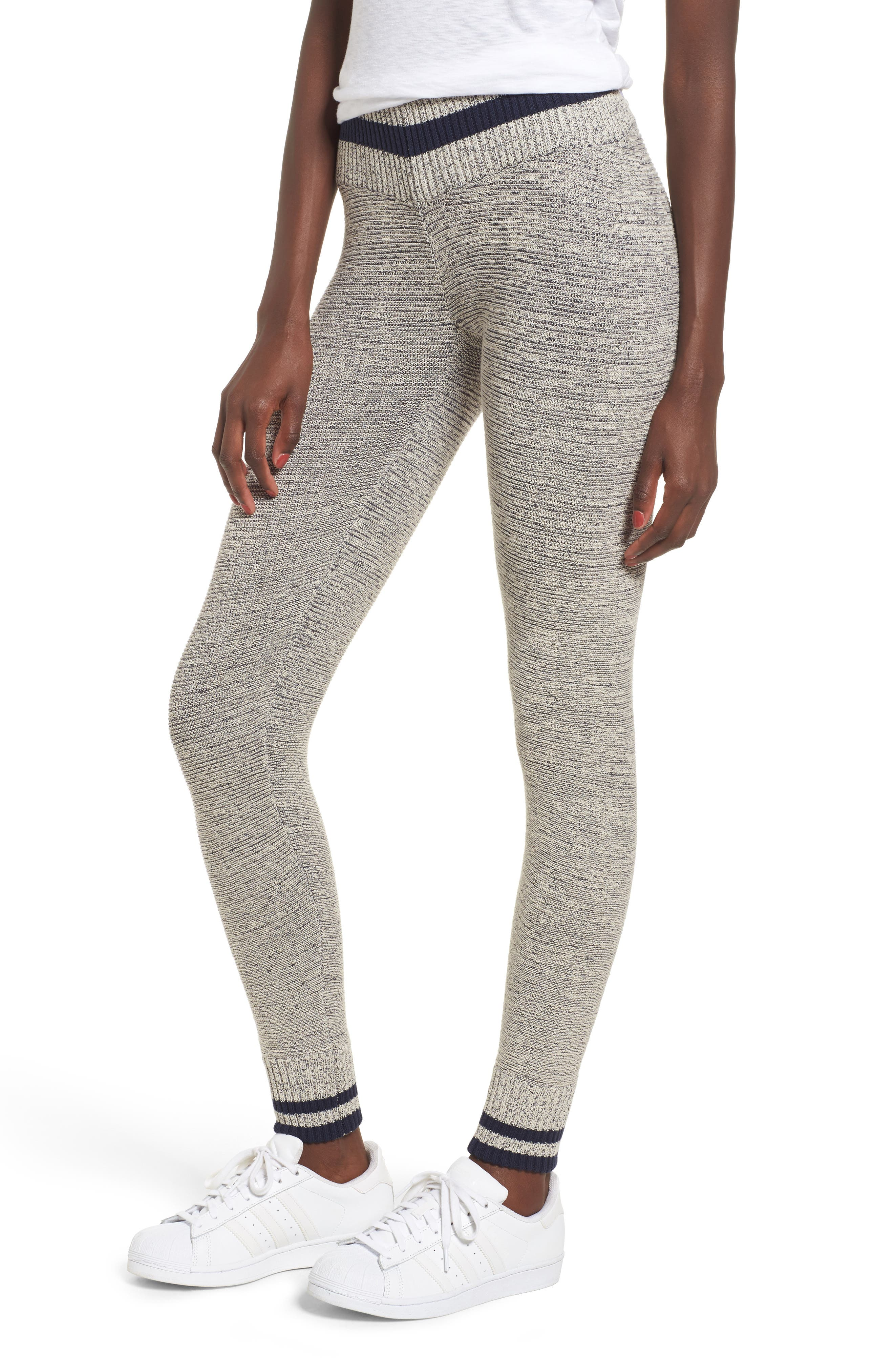 Loomed Knit Leggings,                         Main,                         color, Heather Grey