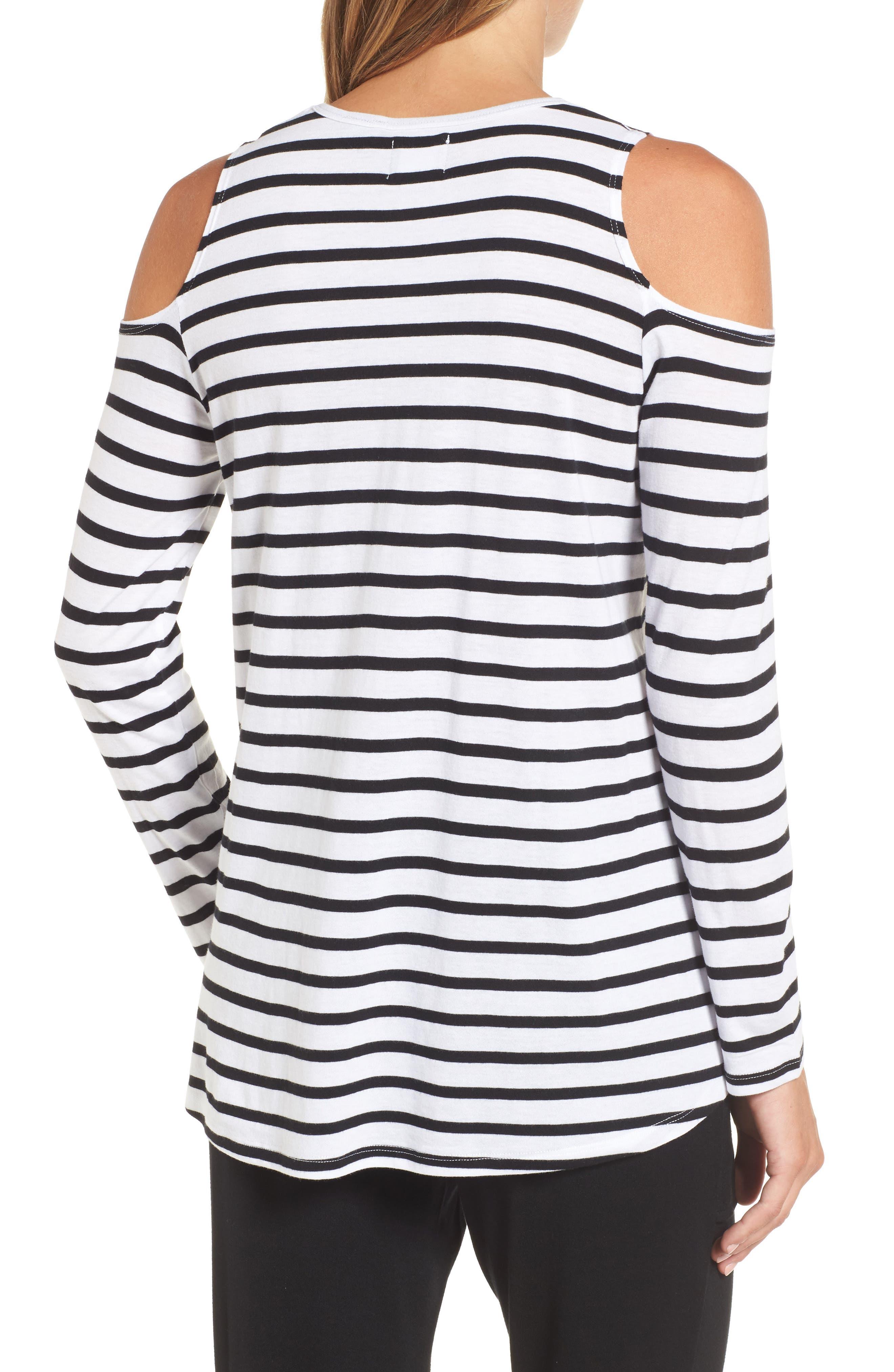 Open Shoulder Stripe Top,                             Alternate thumbnail 2, color,                             White Black