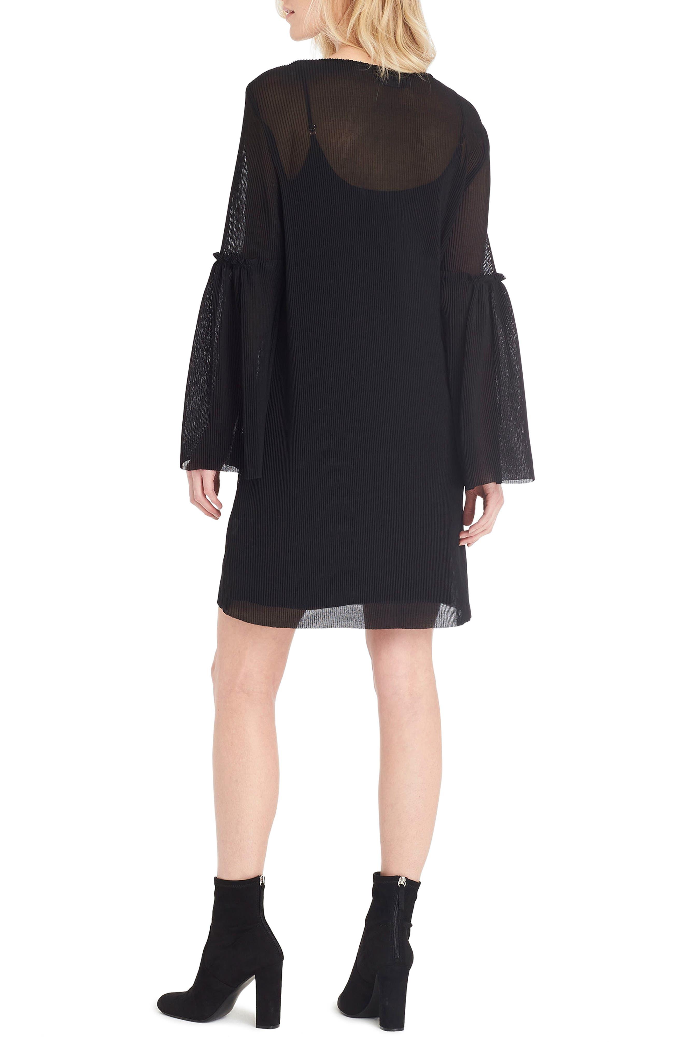 Bell Sleeve Shift Dress,                             Alternate thumbnail 2, color,                             Black