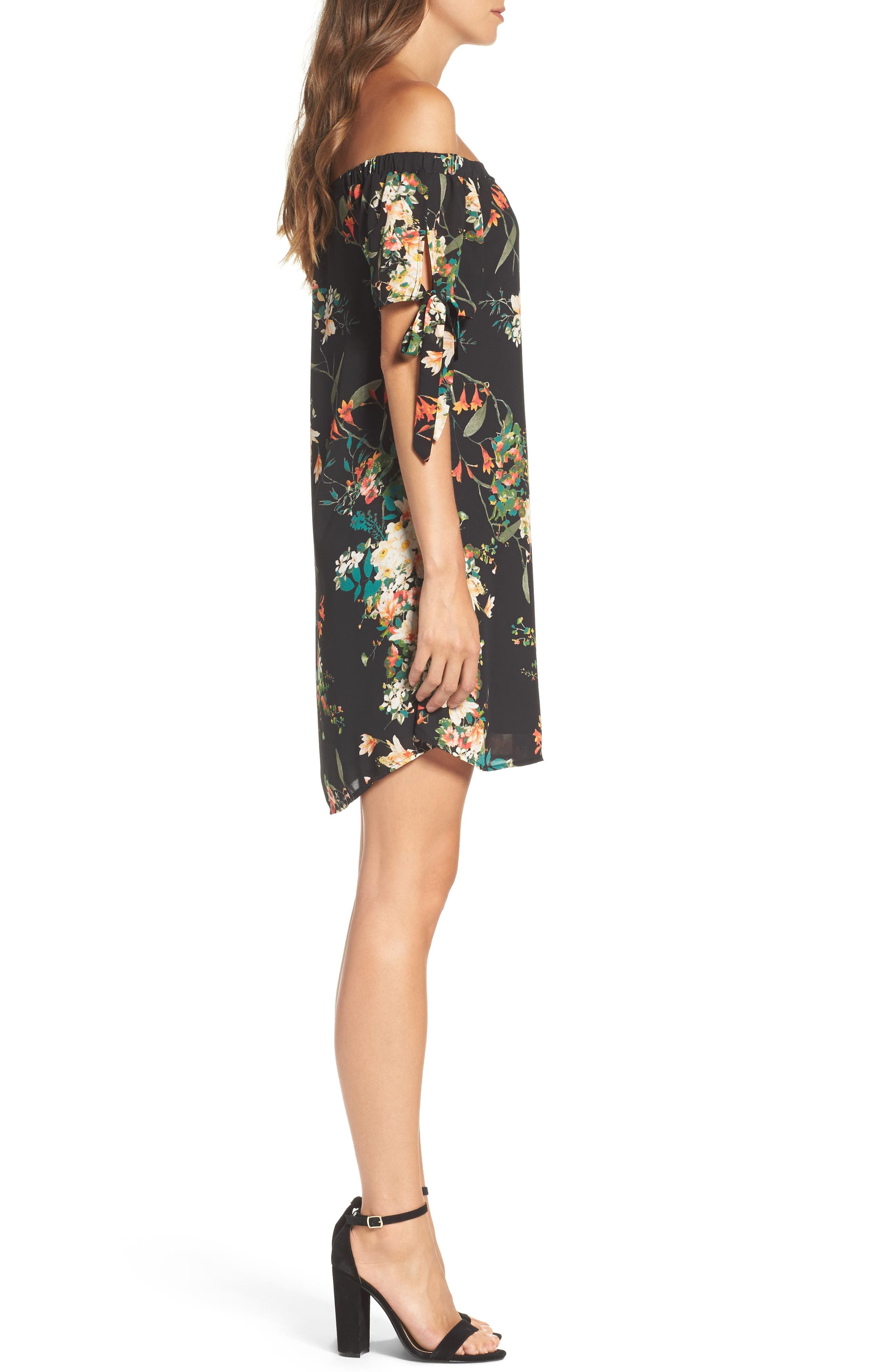 Tie Sleeve Off the Shoulder Dress,                             Alternate thumbnail 3, color,                             Fire Floral