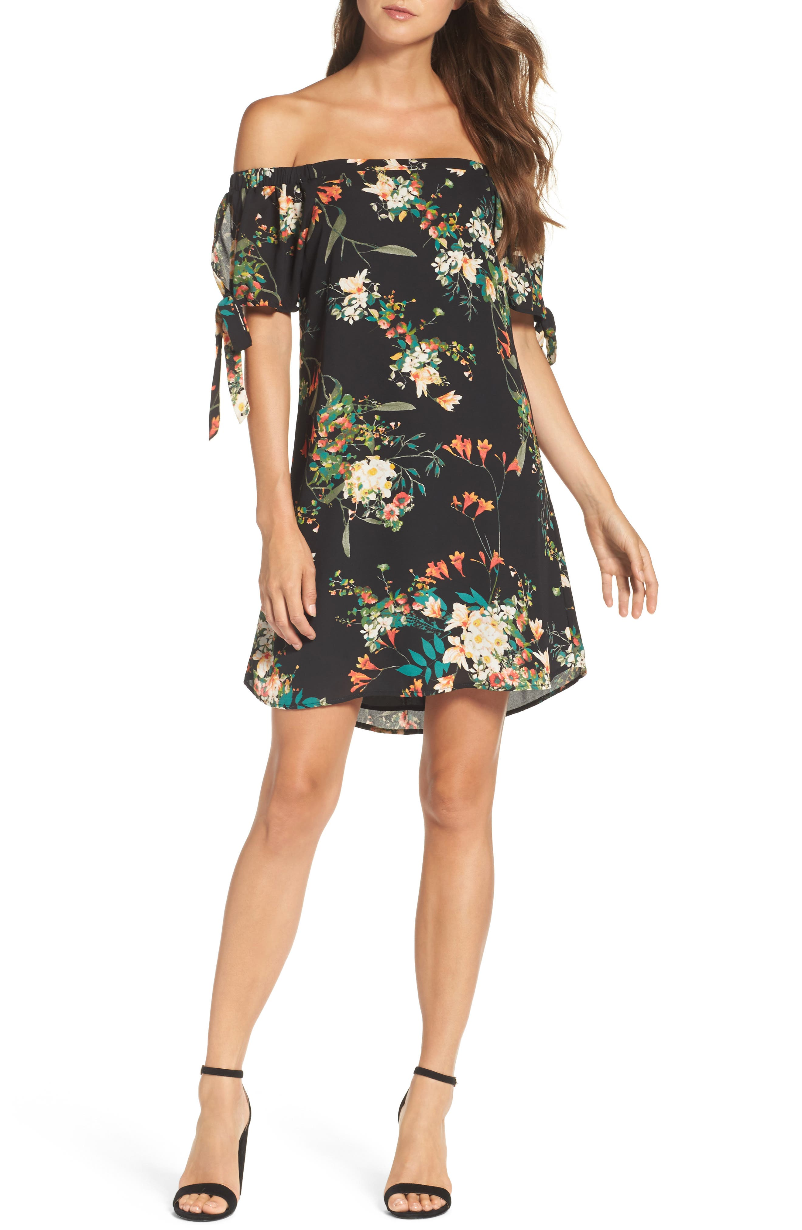 Tie Sleeve Off the Shoulder Dress,                         Main,                         color, Fire Floral