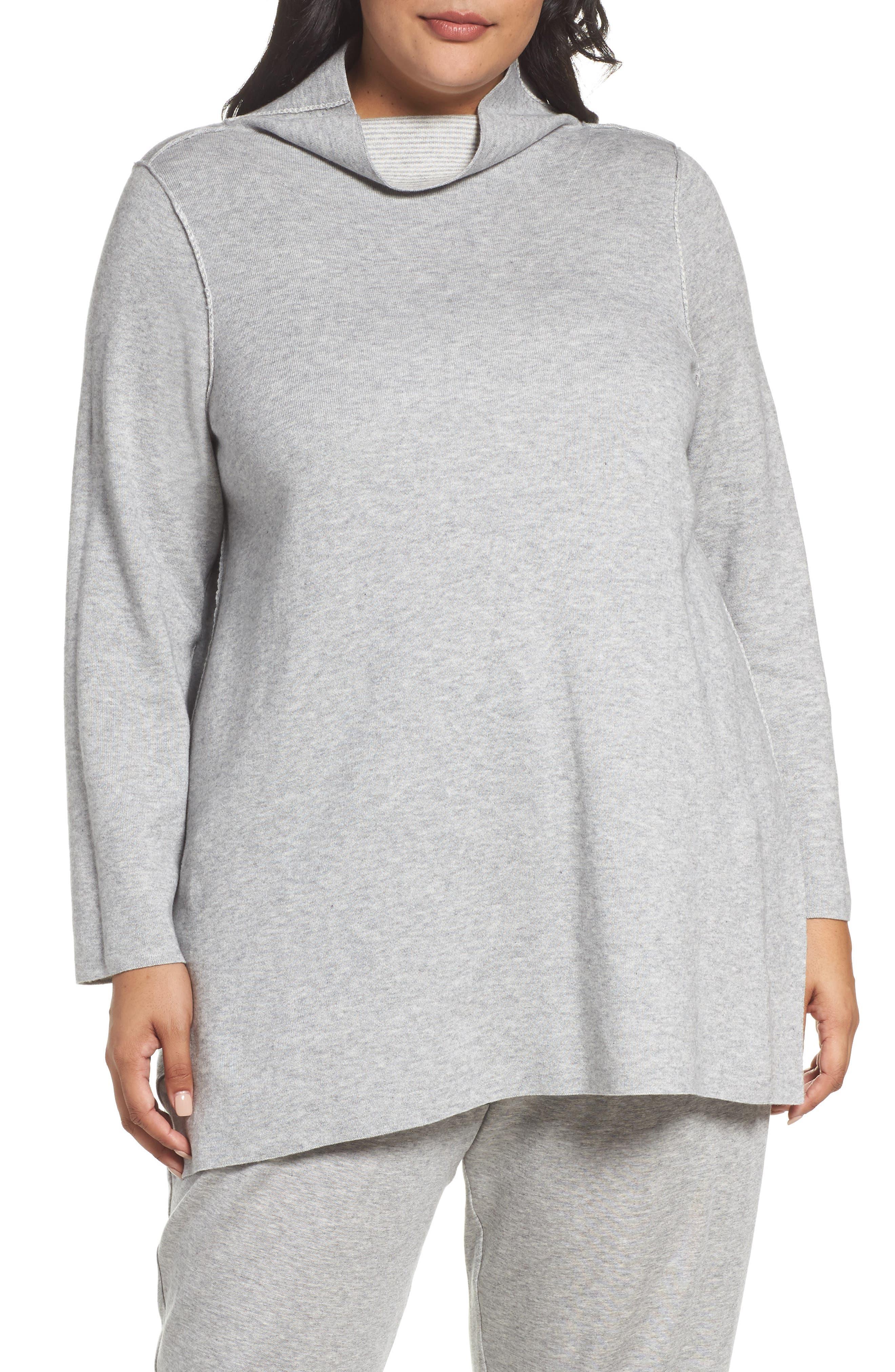 Reversible Funnel Neck Tunic Sweater,                             Alternate thumbnail 4, color,                             Dark Pearl