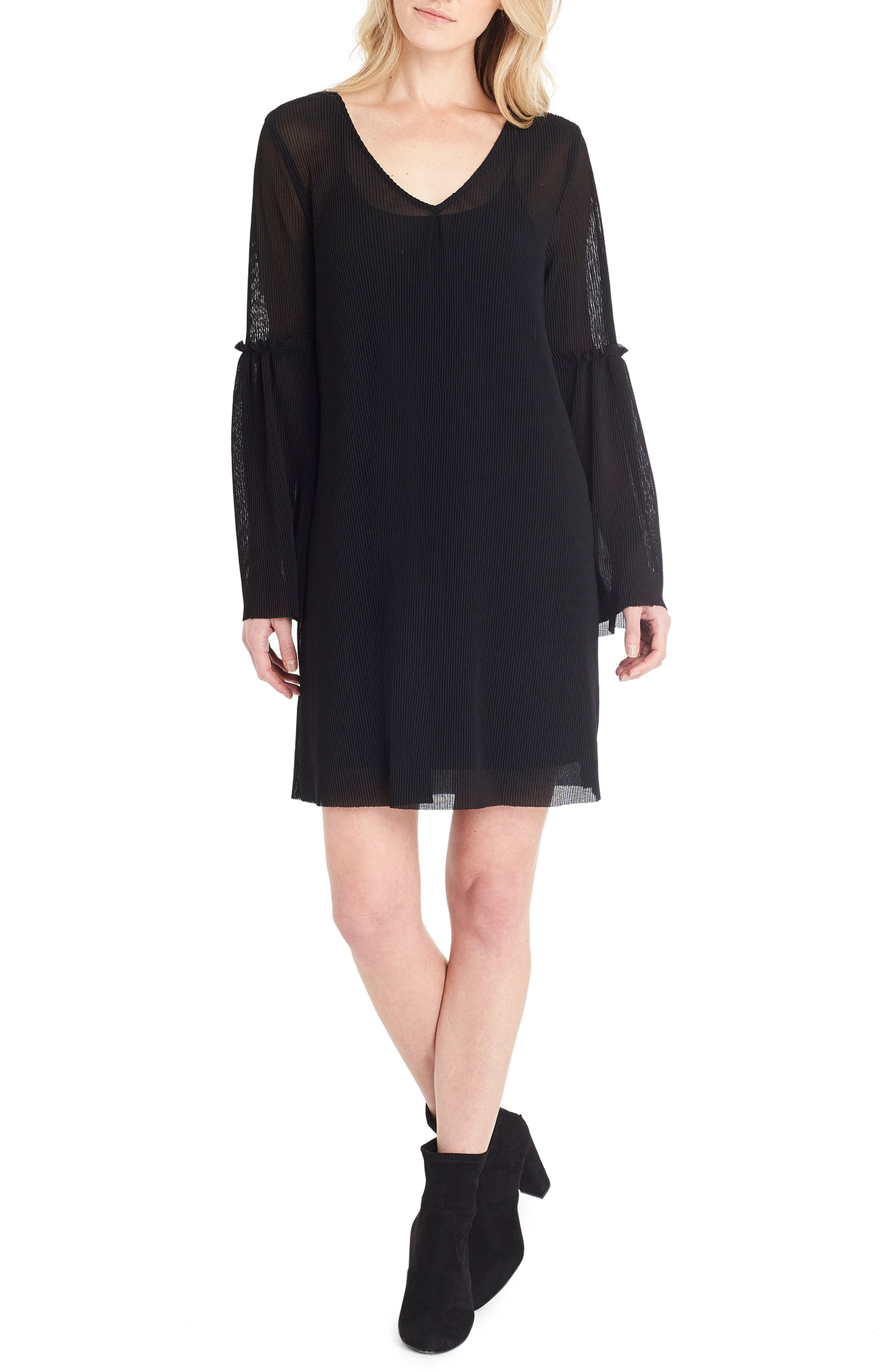 Bell Sleeve Shift Dress,                             Main thumbnail 1, color,                             Black