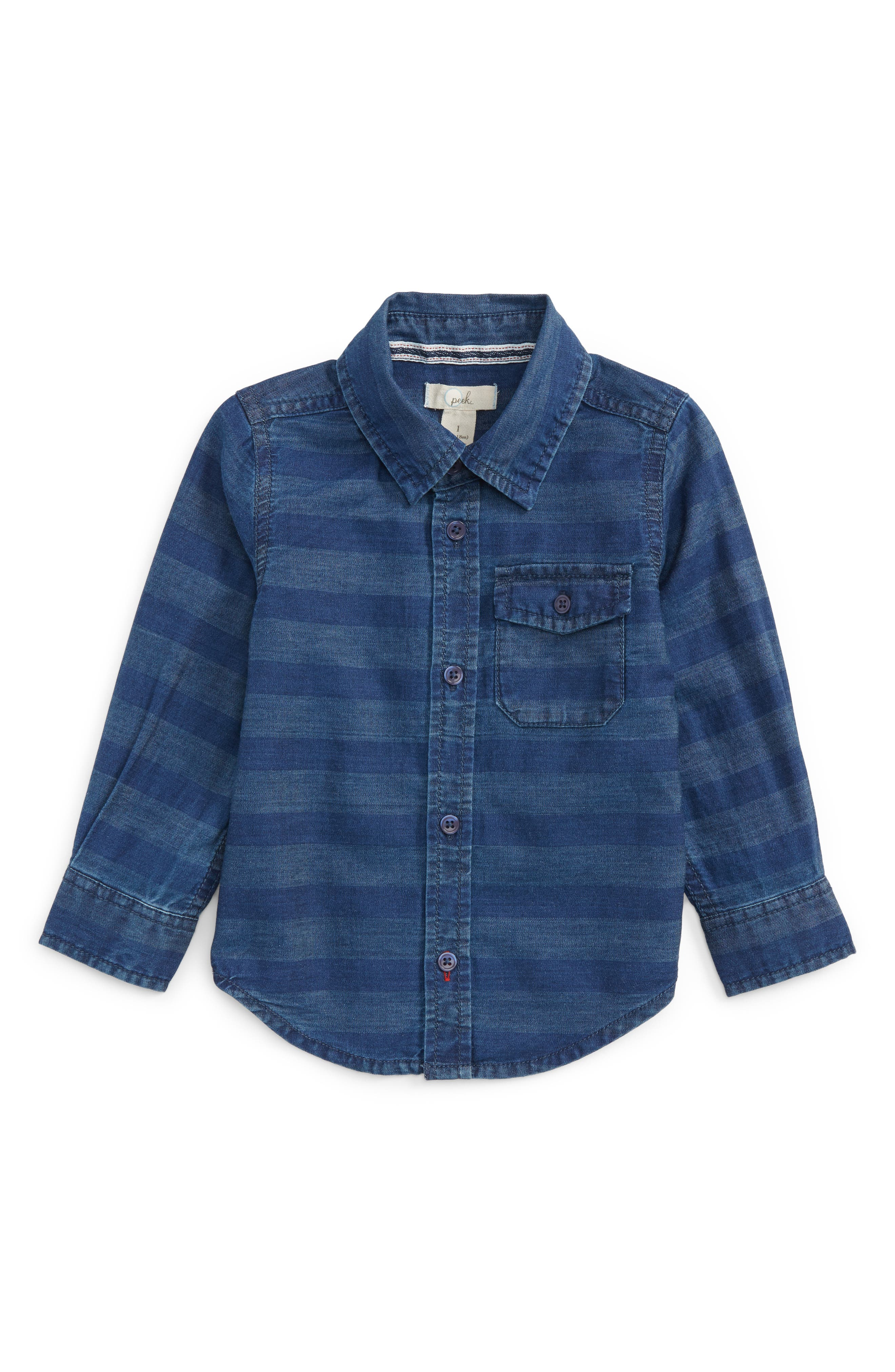 Alternate Image 1 Selected - Peek Aiden Stripe Chambray Shirt (Baby Boys)