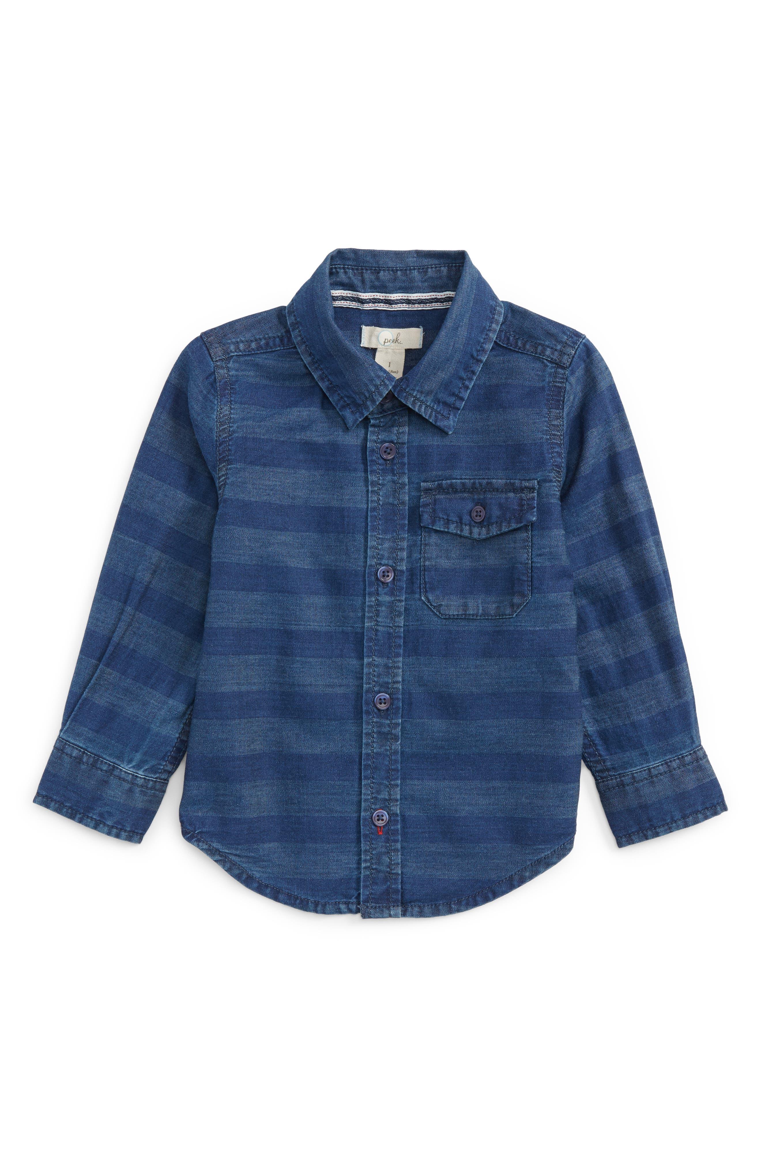 Main Image - Peek Aiden Stripe Chambray Shirt (Baby Boys)