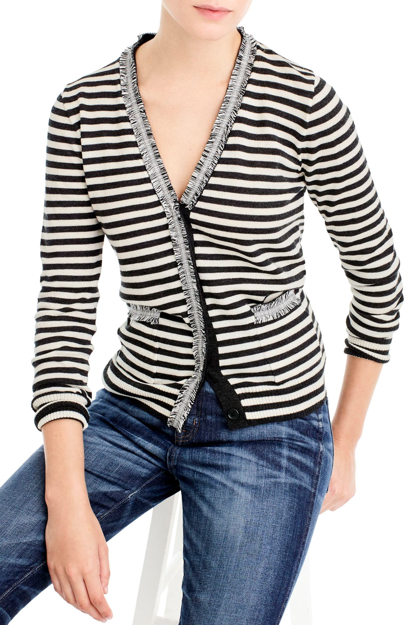 Alternate Image 1 Selected - J.Crew Stripe Harlow Cardigan Sweater