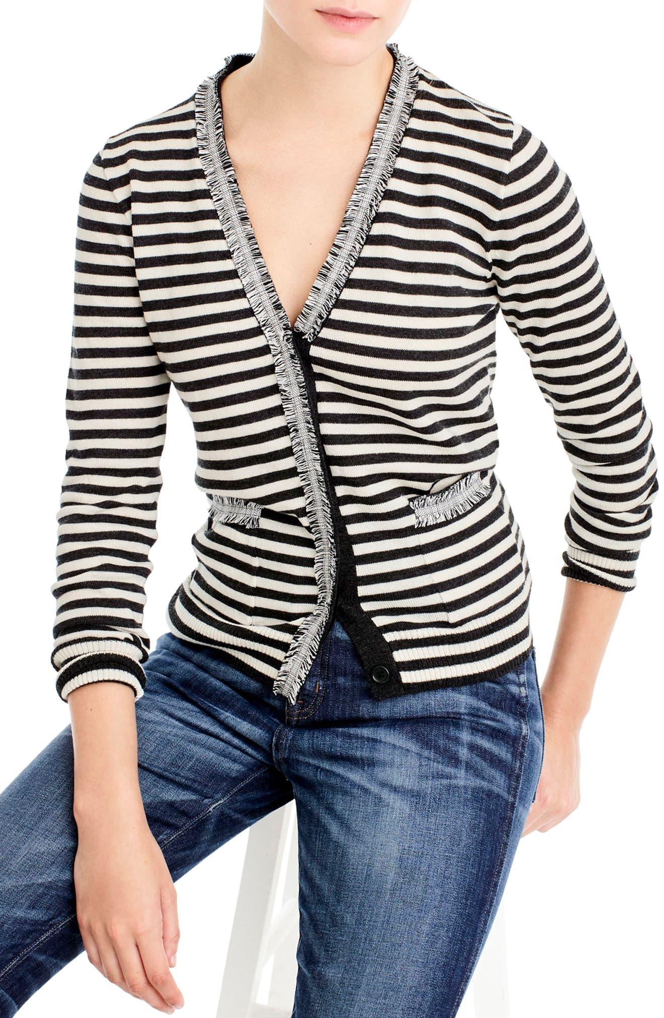 Main Image - J.Crew Stripe Harlow Cardigan Sweater