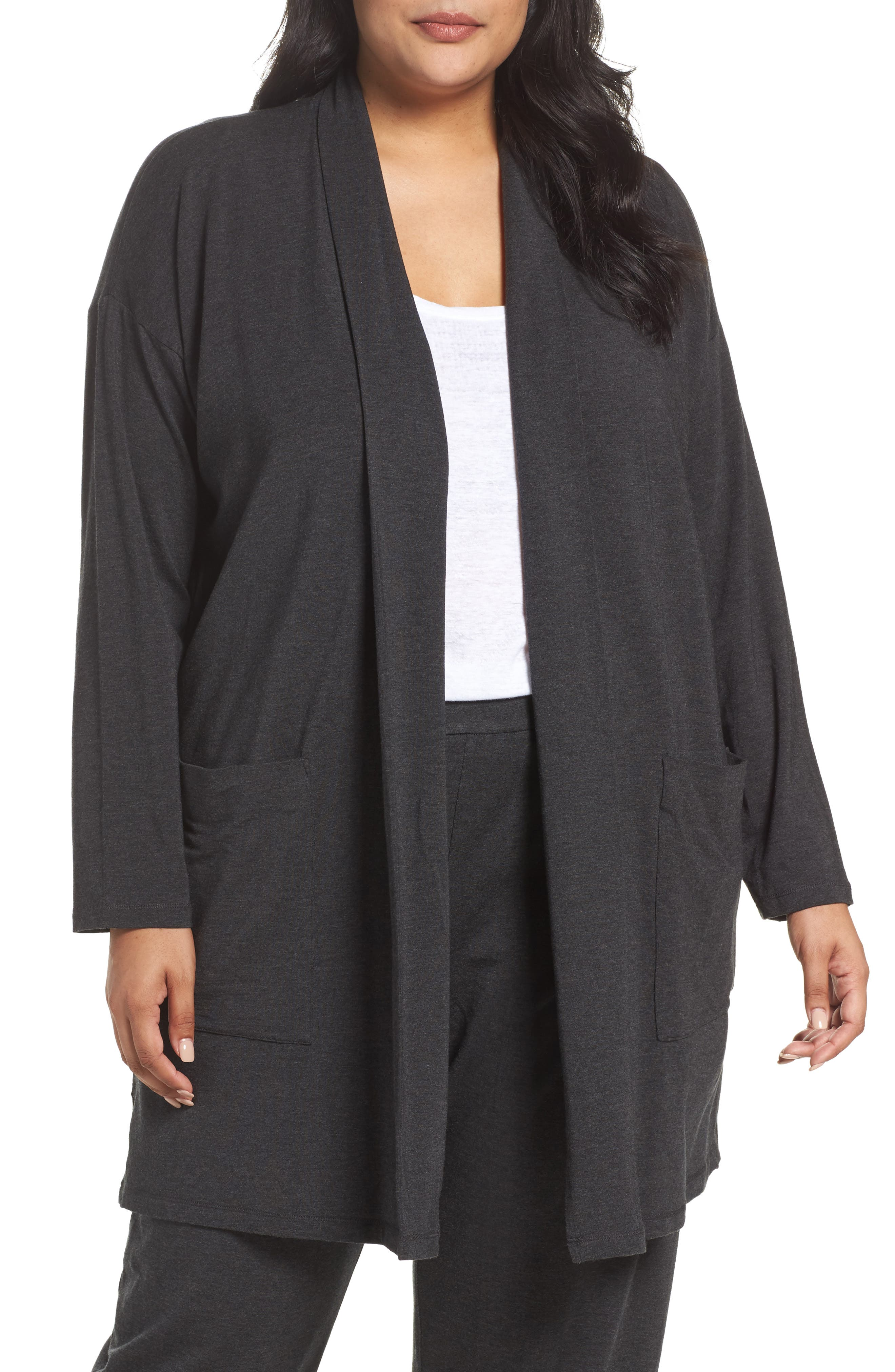 Eileen Fisher Long Kimono Cardigan (Plus Size)
