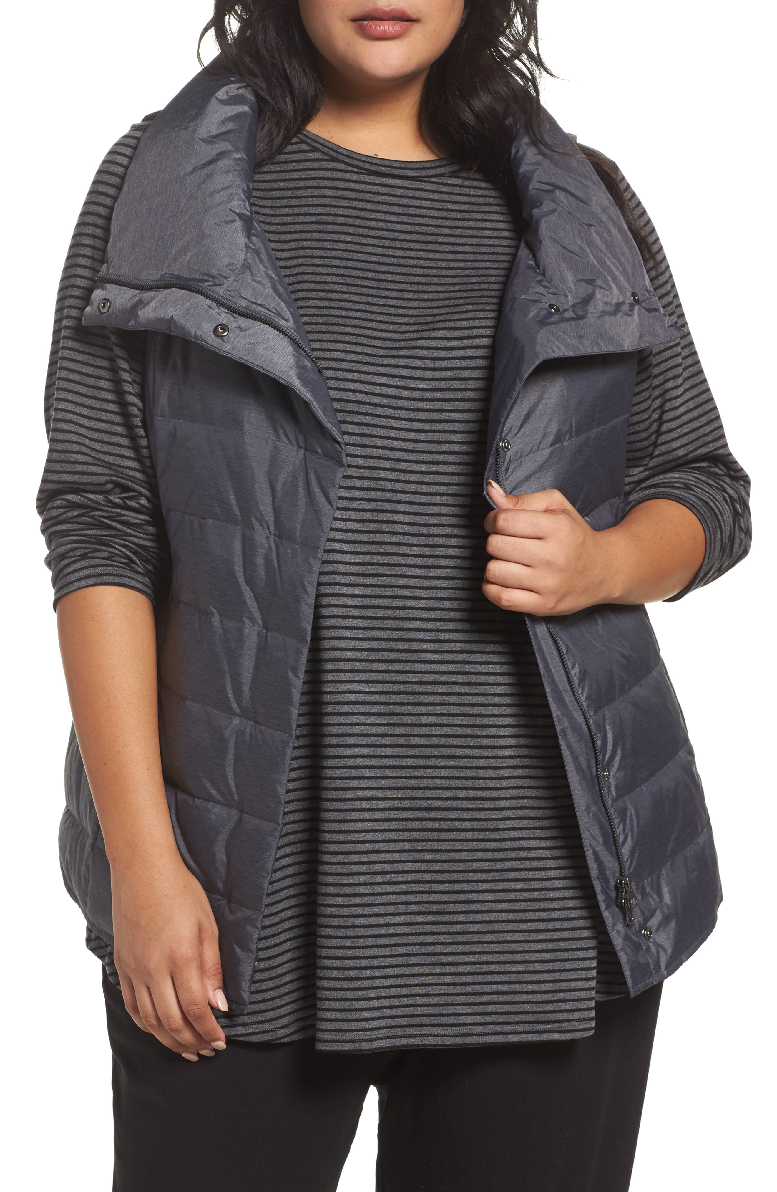 Alternate Image 1 Selected - Eileen Fisher Stand Collar Vest (Plus Size)