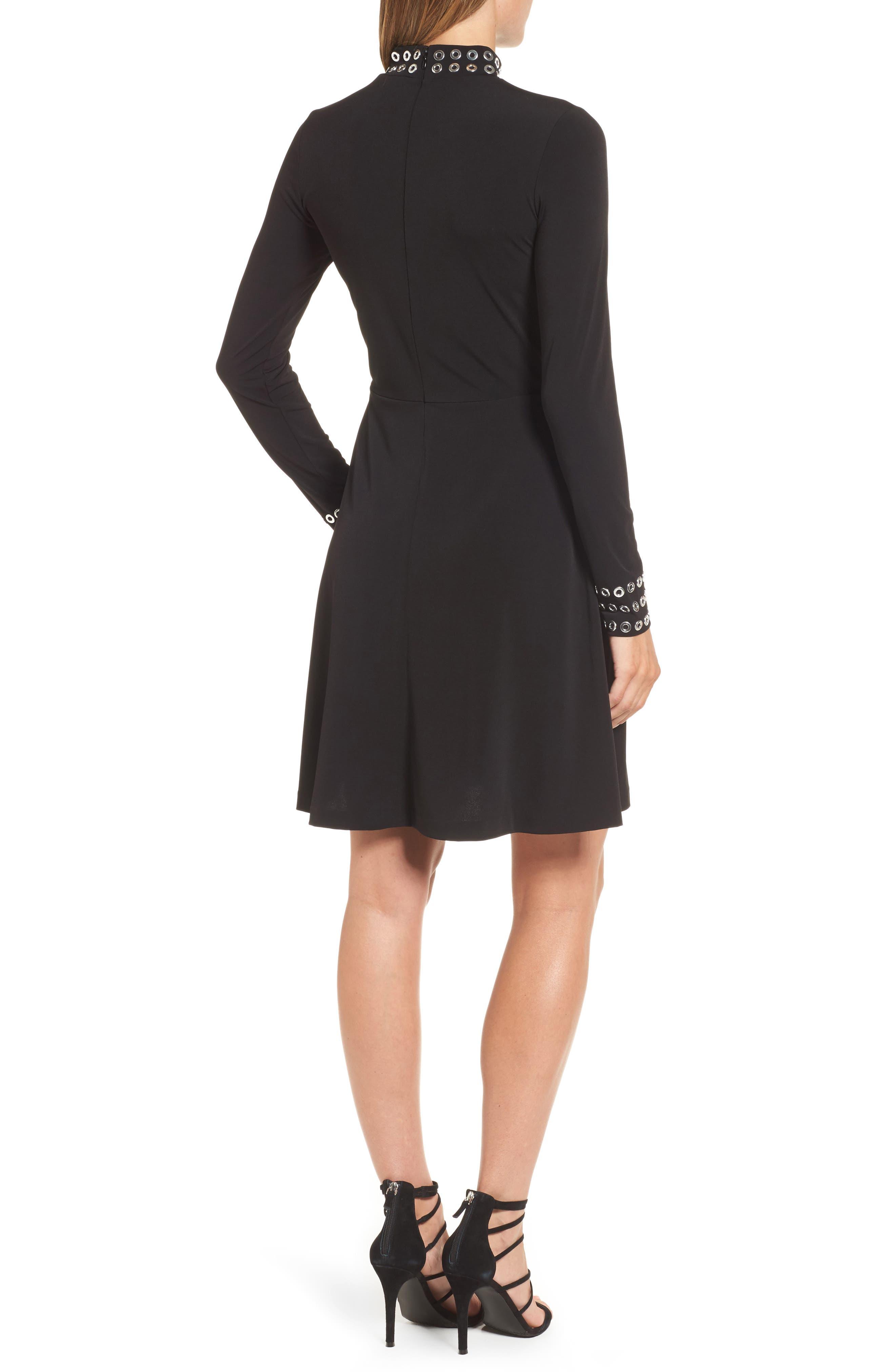 Grommet Mock Neck Knit Dress,                             Alternate thumbnail 2, color,                             Black