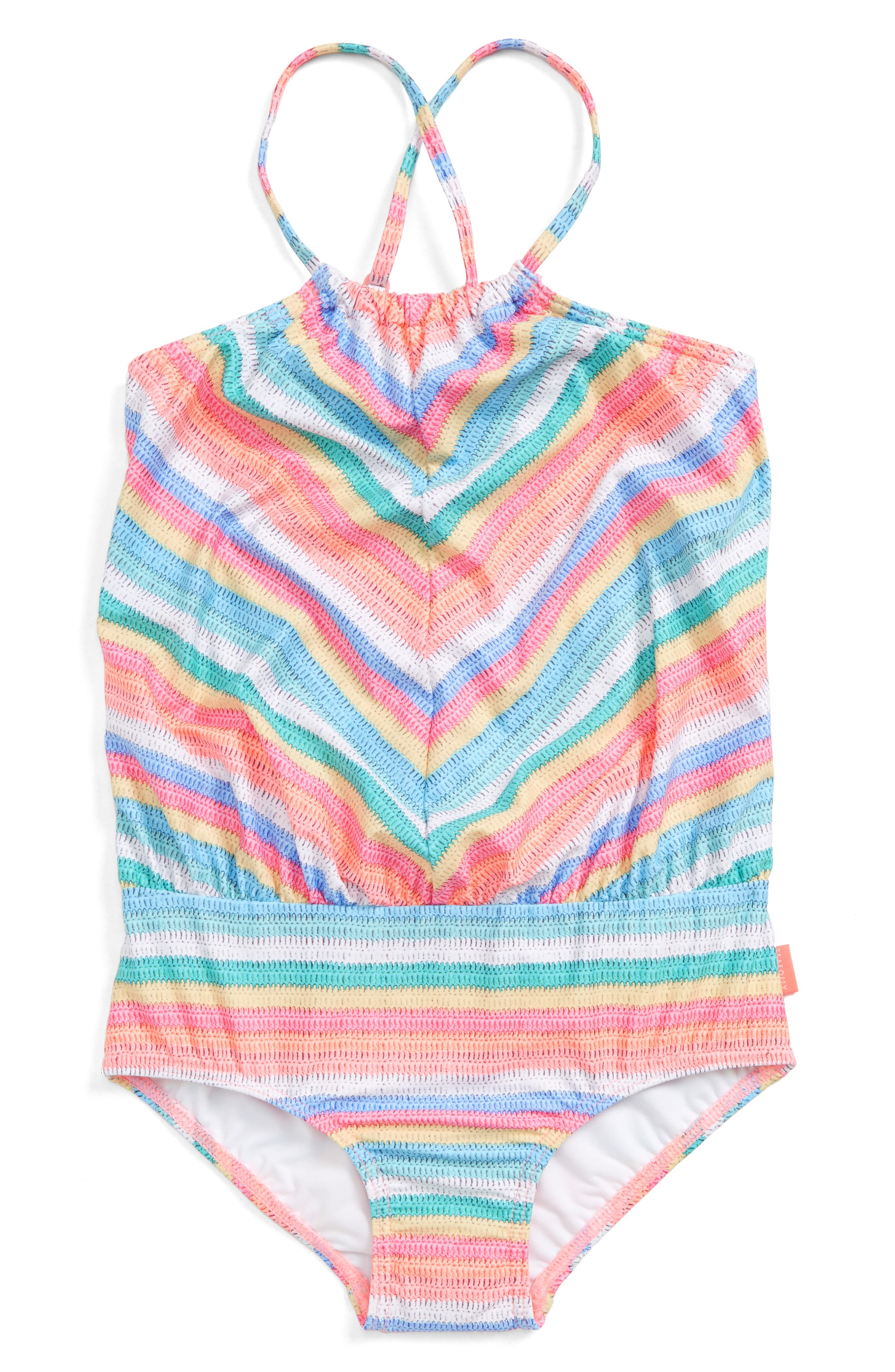 Candy Pop One-Piece Swimsuit,                             Main thumbnail 1, color,                             Candy Stripe