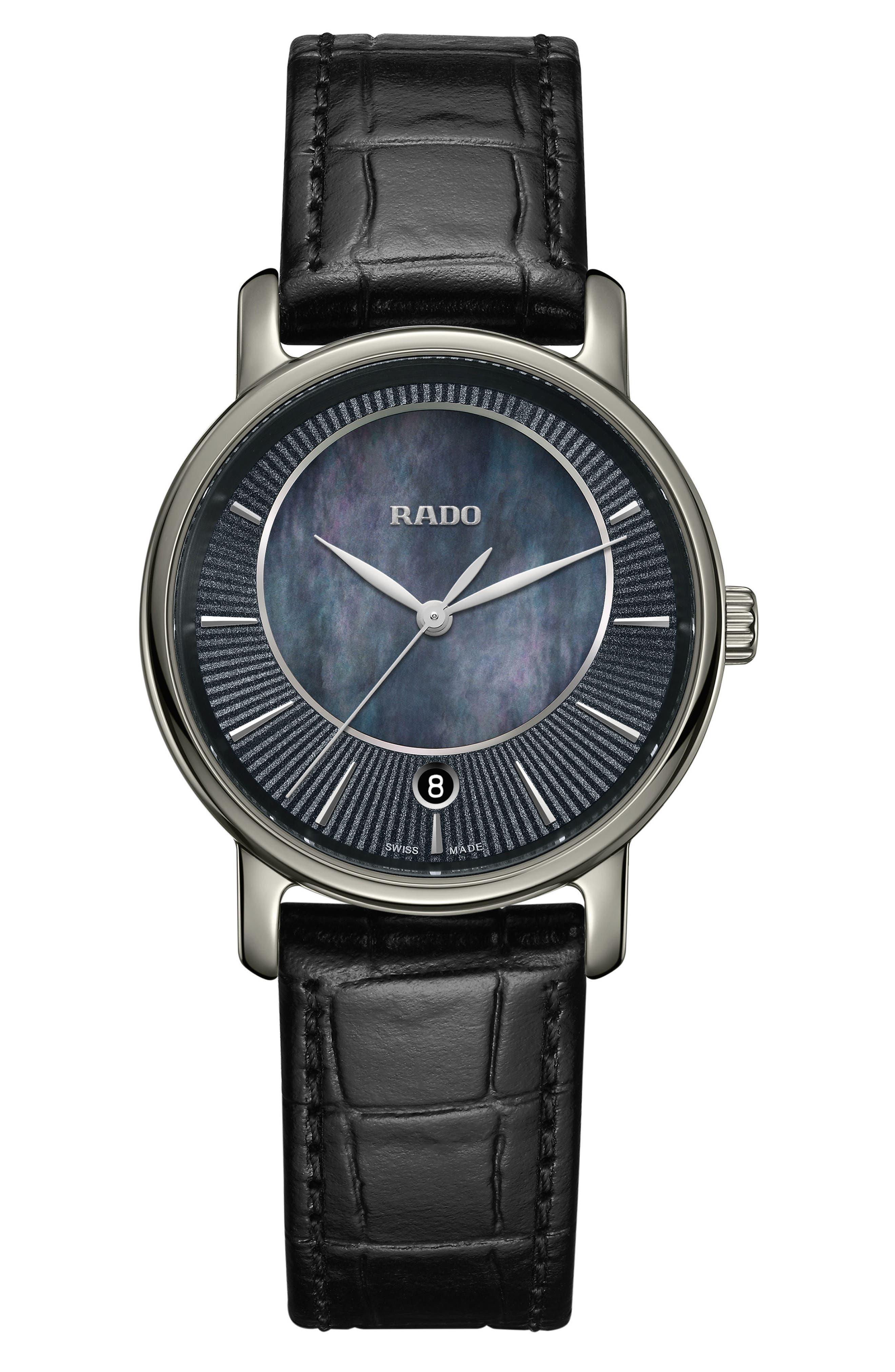 DiaMaster Leather Strap Watch, 33mm,                         Main,                         color, Black/ Mop/ Titanium